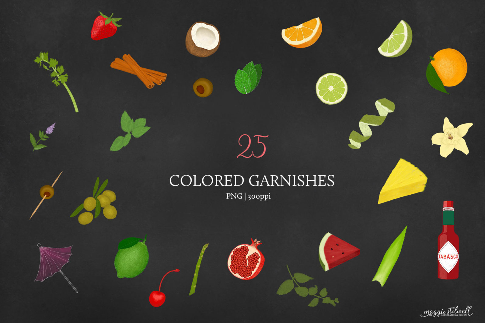 Cocktail Illustrations & Posters - page garnish colored -