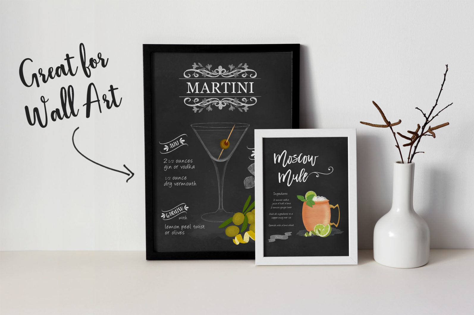 Cocktail Illustrations & Posters - page frames -