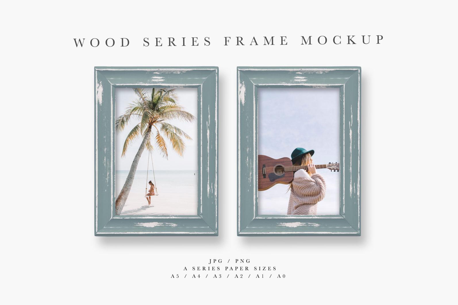 Frame Mockup, Blue Wood Portrait Photo Frame, Two Frame Mockup, PSD - Wood Series 1 Preview 1 scaled -