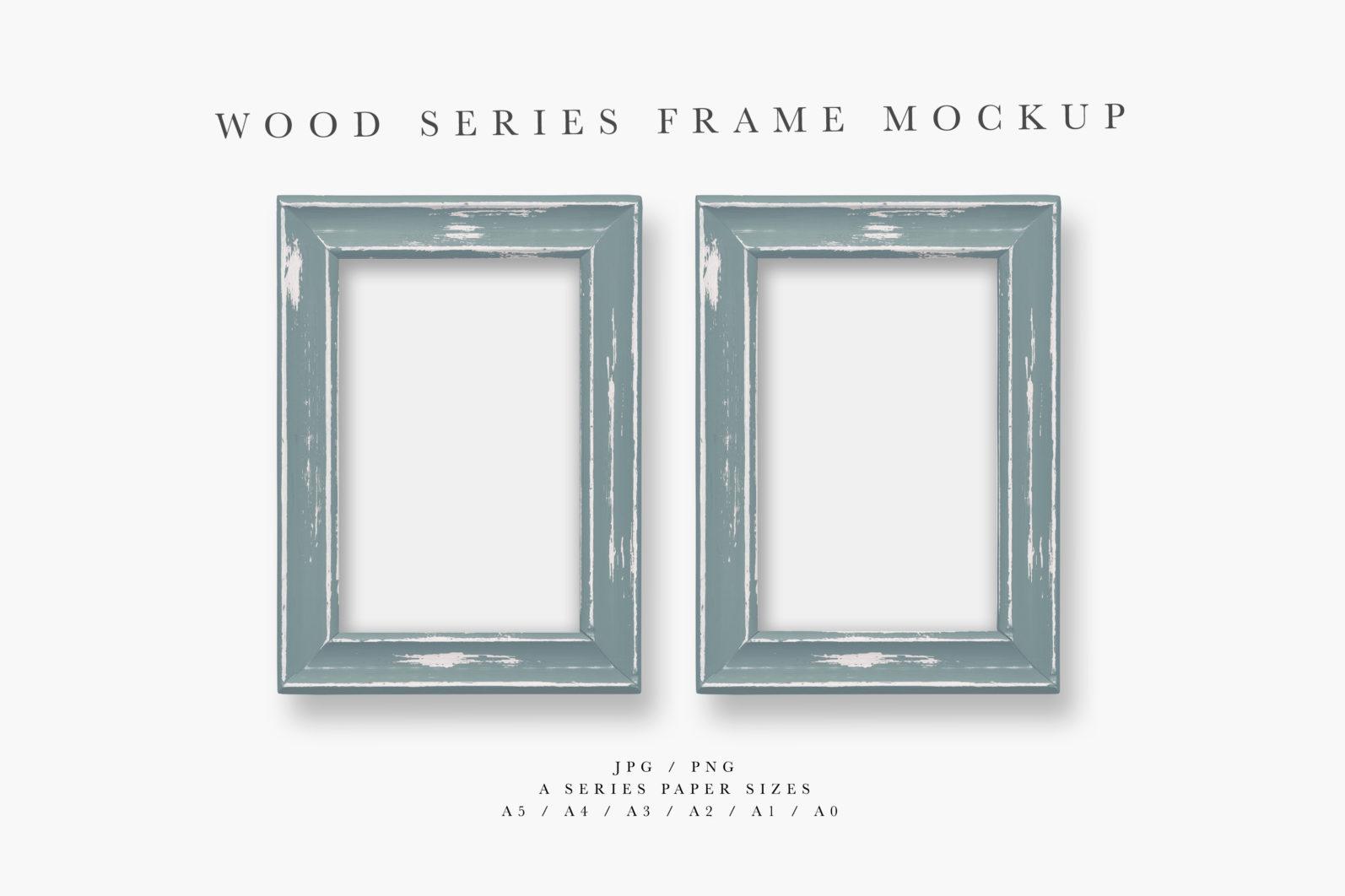 Frame Mockup, Blue Wood Portrait Photo Frame, Two Frame Mockup, PSD - Wood Series 1 Preview 3 scaled -
