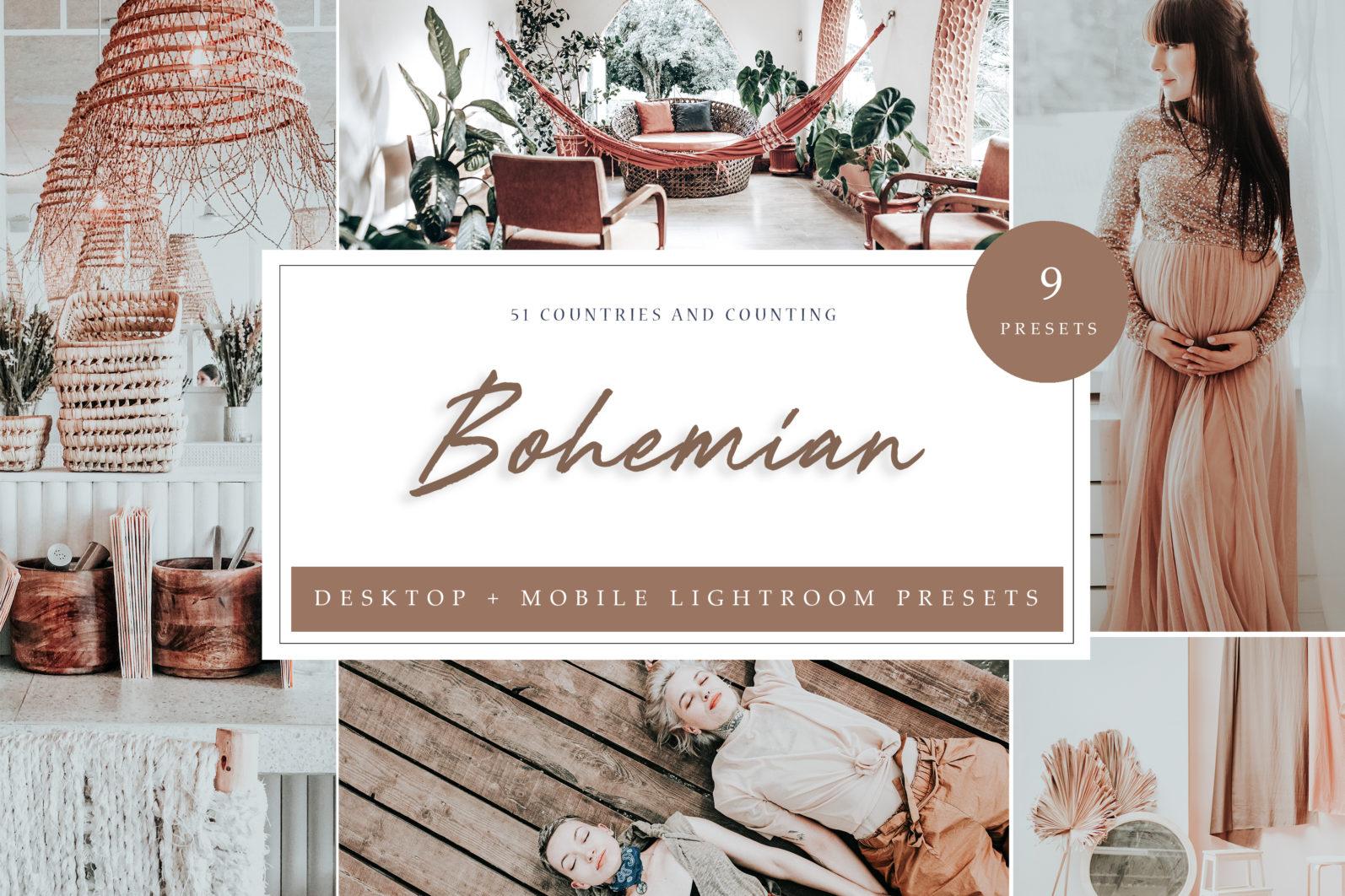 9 x Bohemian inspired lightroom presets   Desktop + Mobile - Bohemian LR scaled -