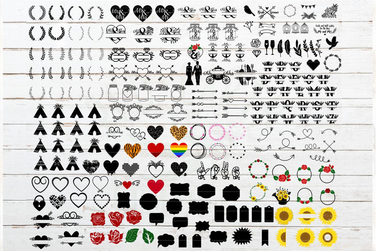 The Mega SVG Bundle Design. More than 650 Designs included in SVG,PNG,DXF,PDF,EPS formats - huge wedding bundle svg wedding svgwedding monogram svg mr and mrs svg frame bundlearrows svgrose bundle floral leters svg 2 scaled -