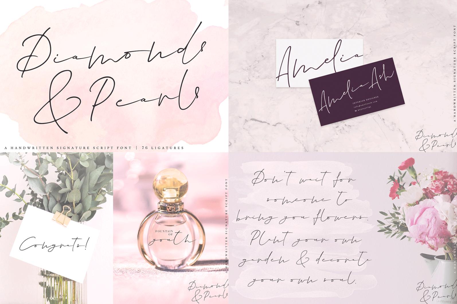 The Hand Lettered Font Bundle - Bundlemedia DiamondsAndPearls -