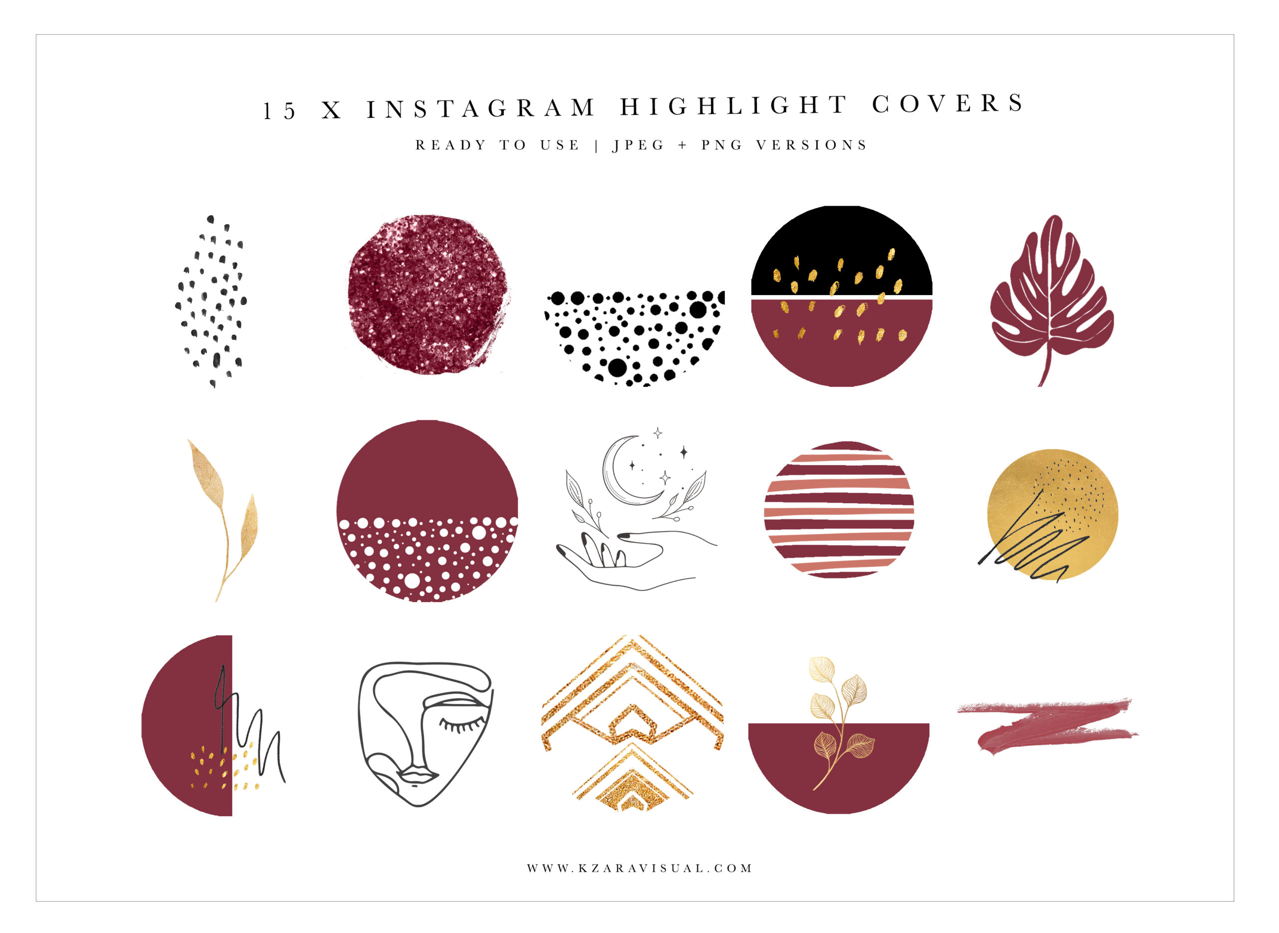 Instagram Highlight Covers 43 Boho Instagram Icons Abstract Highlights Burgundy Instagram Crella