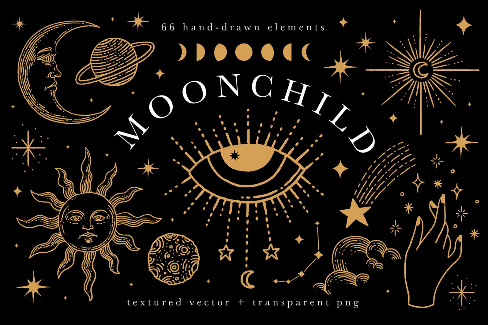 Celestial Illustration Set - Sun Moon Stars Space - Moonchild Preview 01 -