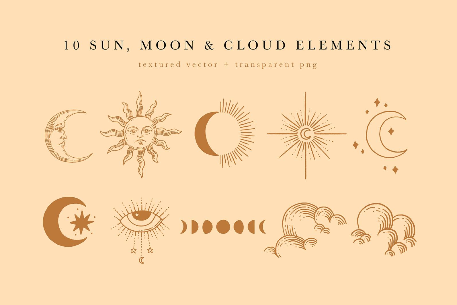 Celestial Illustration Set - Sun Moon Stars Space - Moonchild Preview 03 -