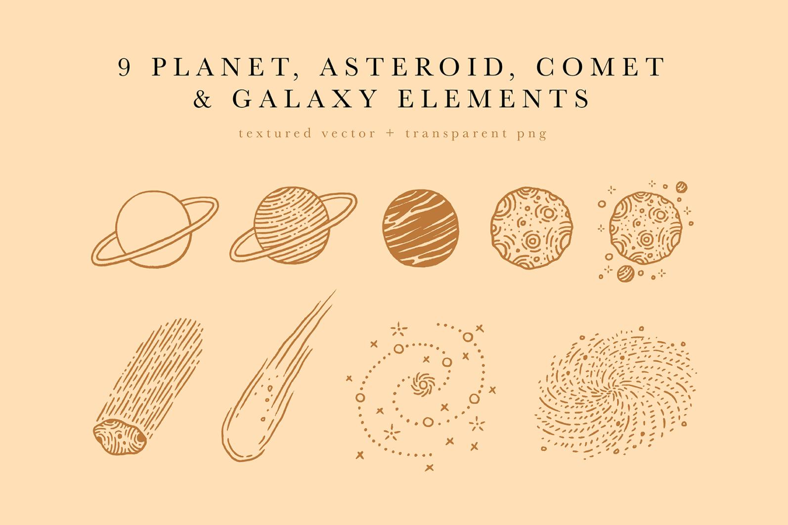 Celestial Illustration Set - Sun Moon Stars Space - Moonchild Preview 09 -