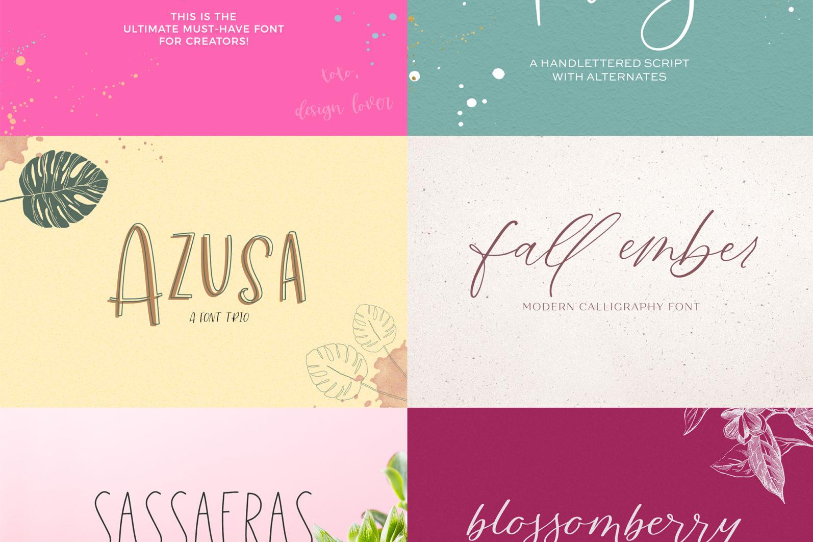The Handlettered Font Bundle - etsy font bundle stack 3 -