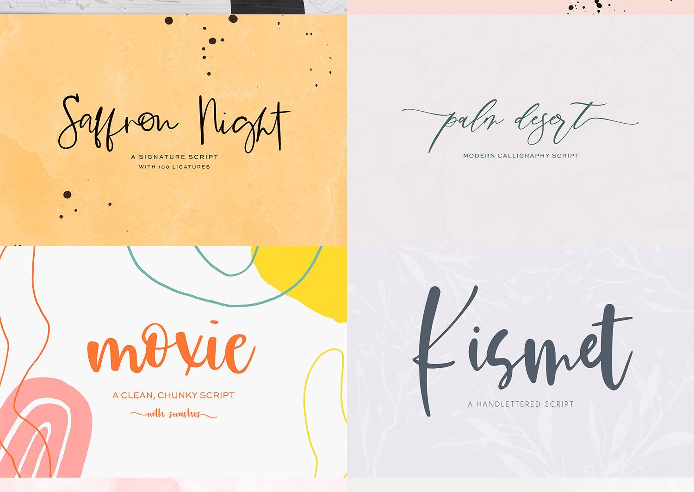 The Handlettered Font Bundle - etsy font bundle stack 4 -