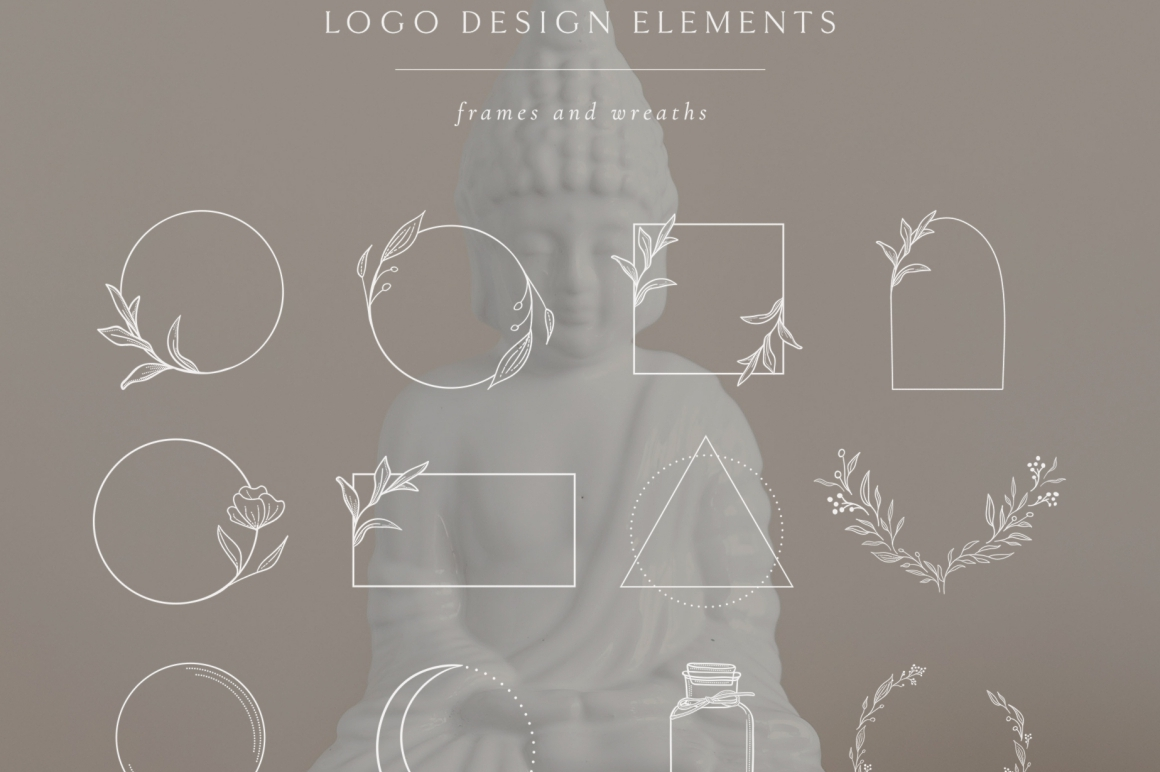 White Logo Elements, Frames and Borders. Spiritual, Astrology, Crescent, Cosmos. Triangle. Tattoo. - Logo Elements Frames Borders White First Image -