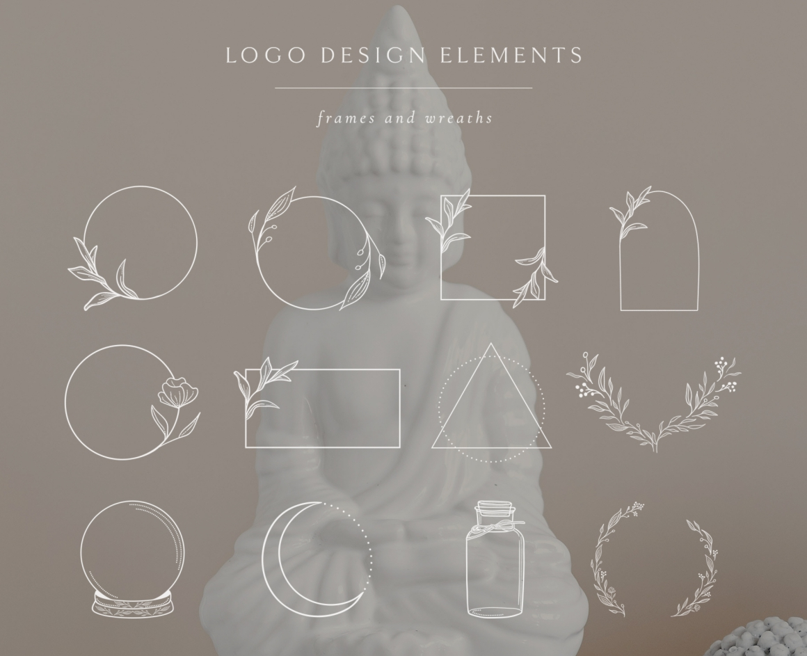 White Logo Elements, Frames and Borders. Spiritual, Astrology, Crescent, Cosmos. Triangle. Tattoo. - Logo Elements Frames Borders White 01 -