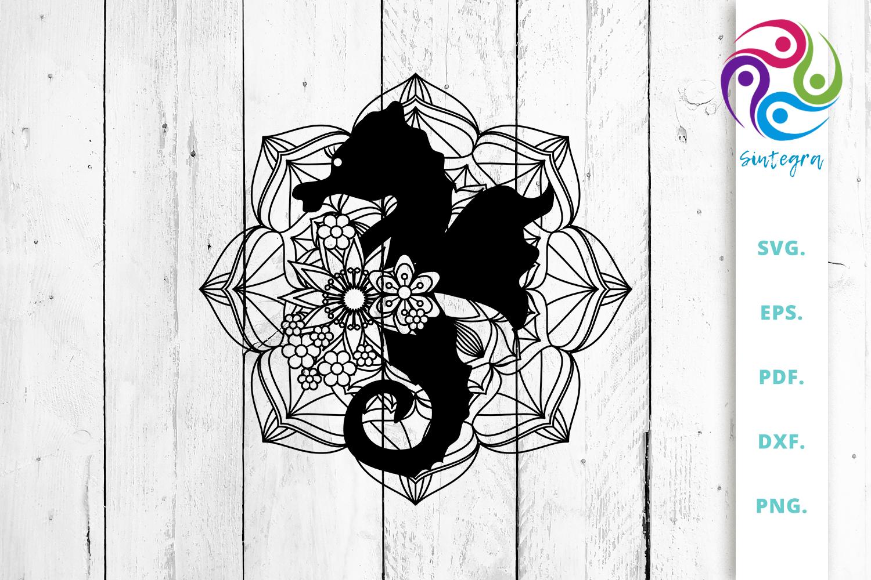 Mandala With Sea Horse Svg Cut File Crella