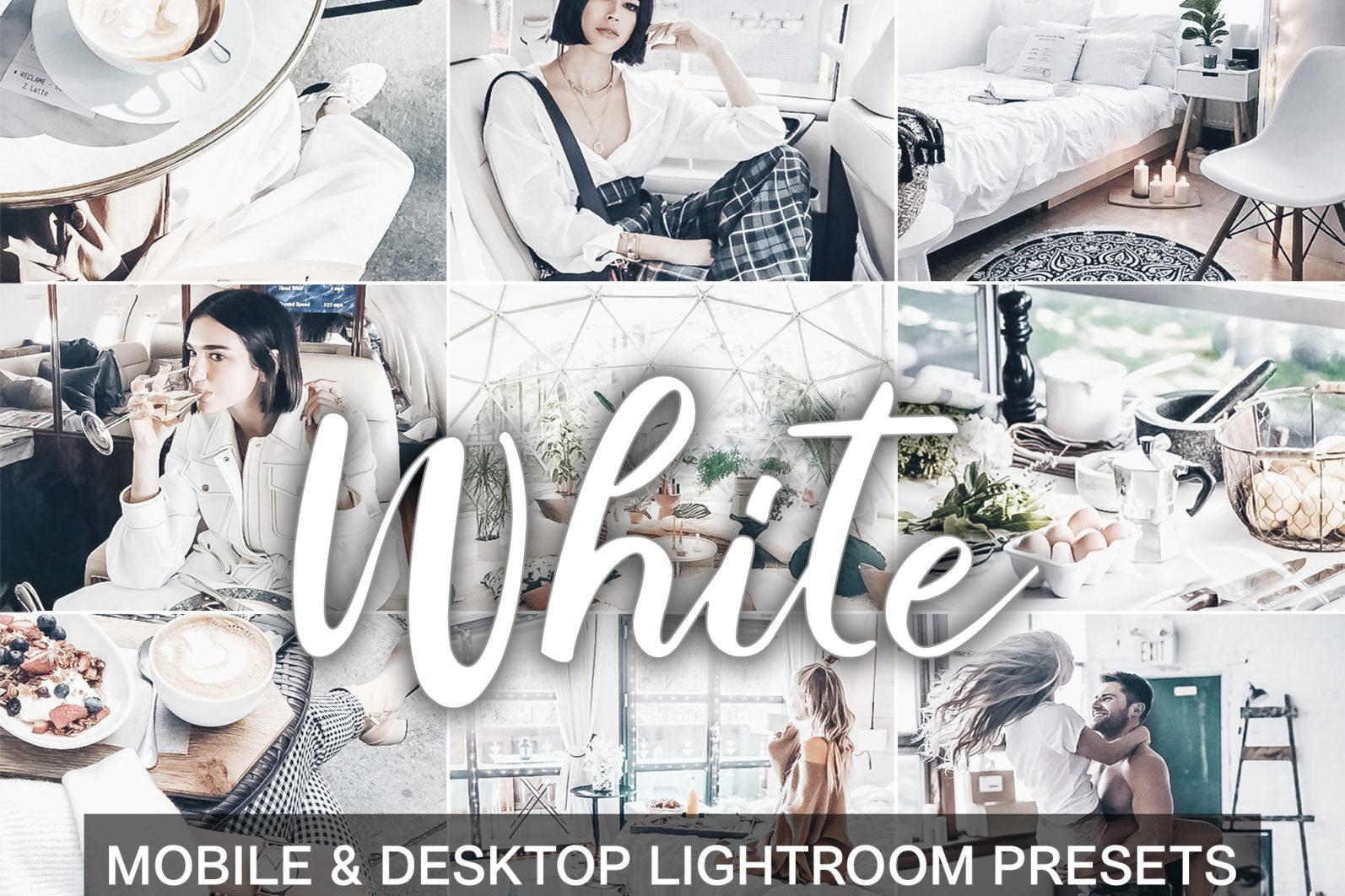 BEST SELLER ⭐️ 7 Mobile & Desktop Lightroom Presets WHITE Instagram Filter - Mobile desktop lightroom presets cover product White -