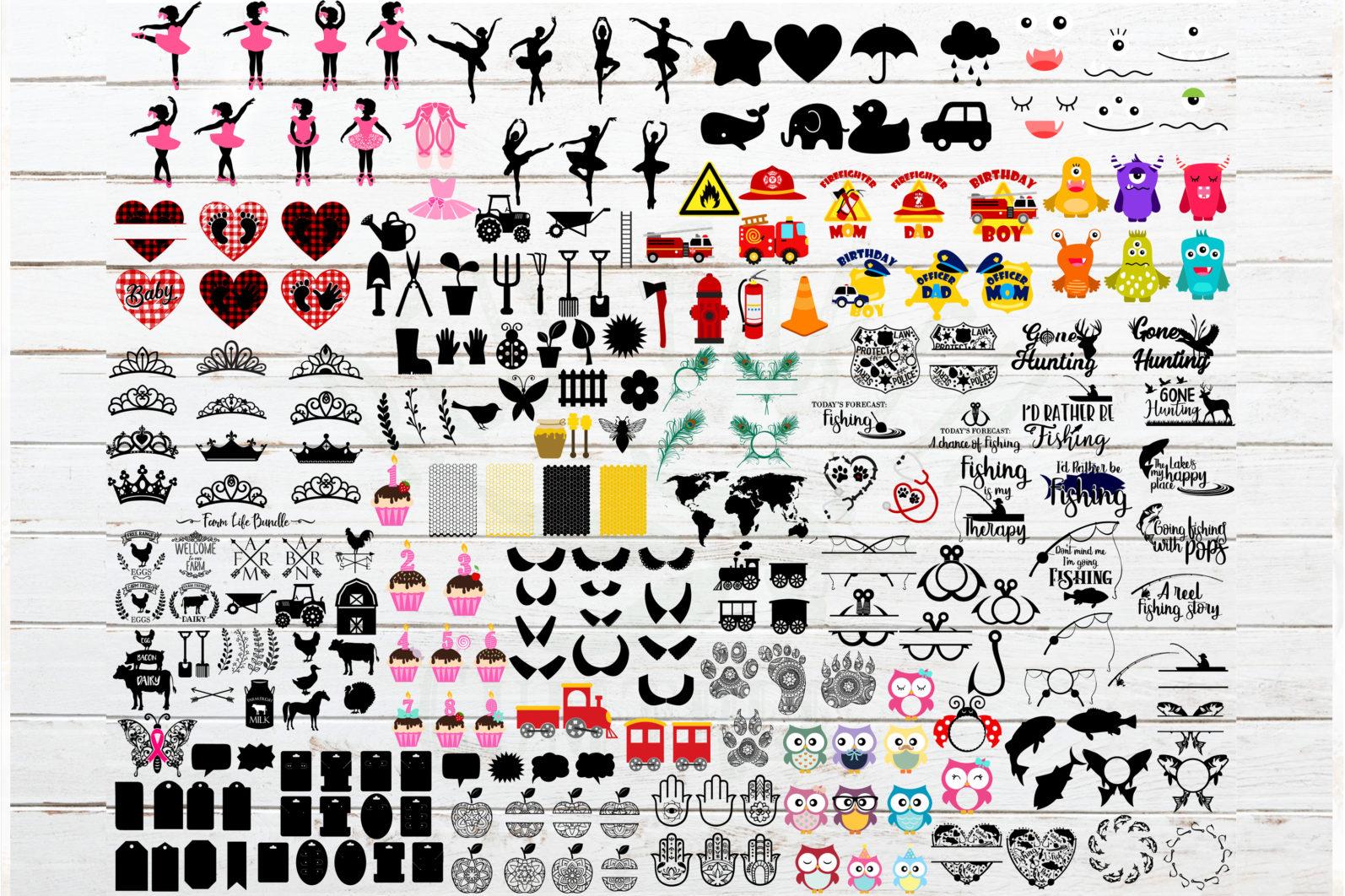 The Mega SVG Bundle Design Volume 2. More than 250 Designs in SVG,PNG,DXF,PDF,EPS formats - svg bundle for cricutfishing bundletrain bundlehoney bee honeycomb svganimal nbundleowl svgfish bundlefarm bundle svgballet bundle svgcute monster faces 2 scaled -