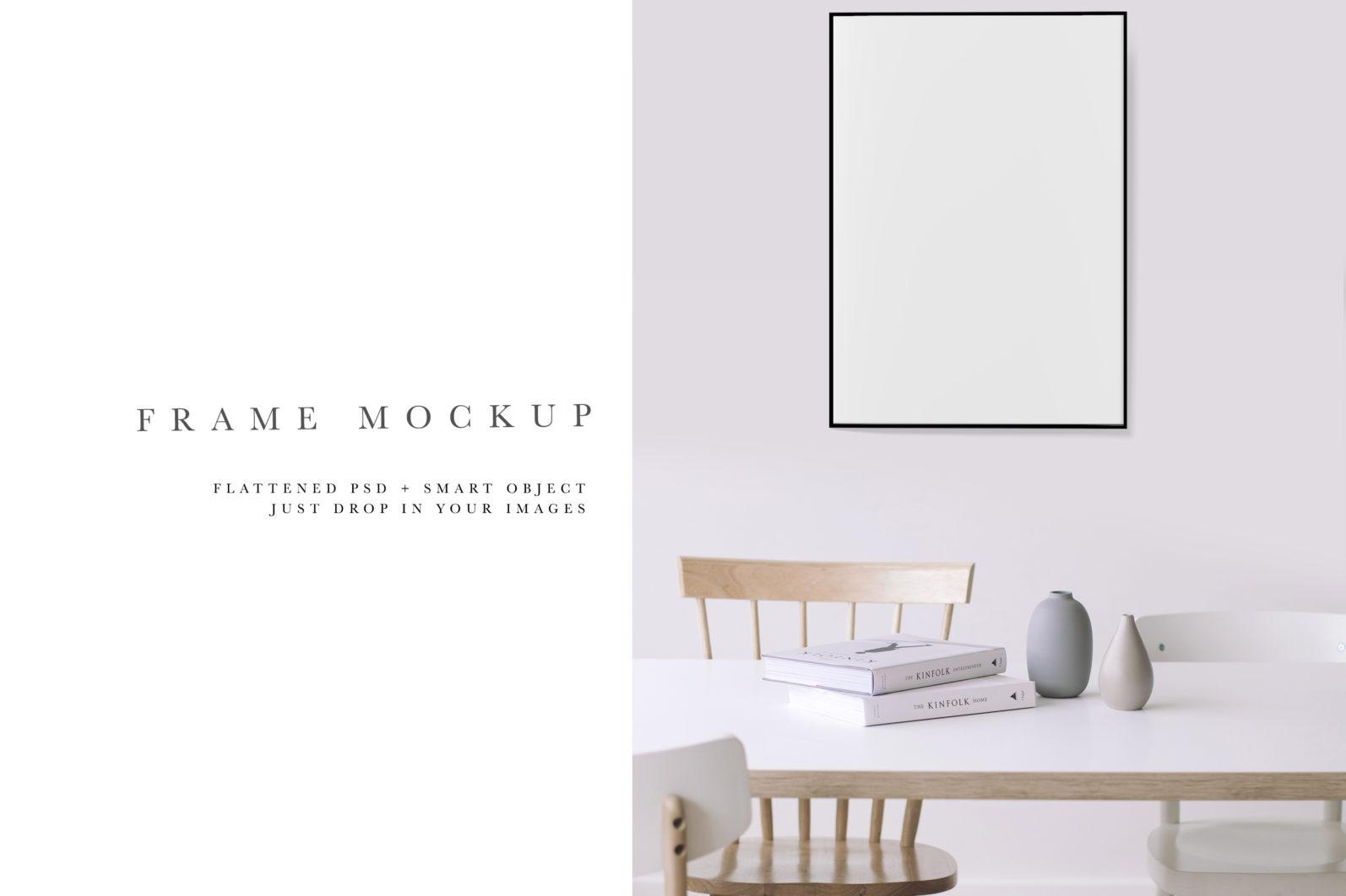 Frame Mockup #691, Black Portrait Photo Frame, Interior Frame Mock Up, PSD - 691 Preview 2 scaled -
