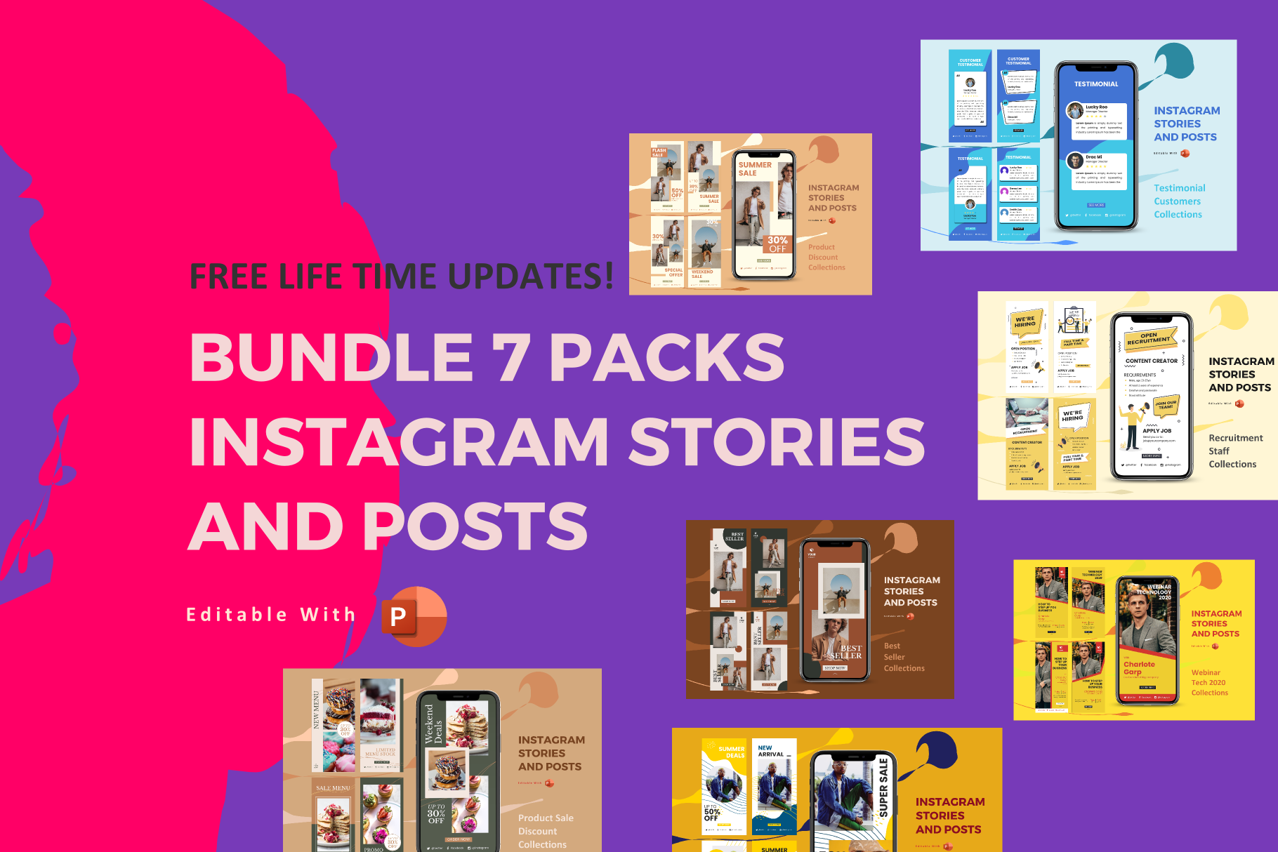 Updates Bundle 7 Packs Instagram Stories And Posts Powerpoint Template Crella