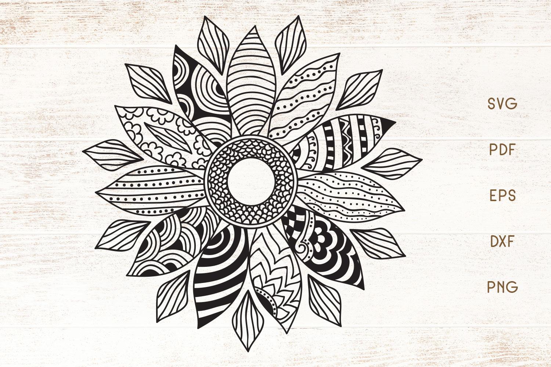 Download Sunflower Doodle Art - Zentangle SVG - Crella