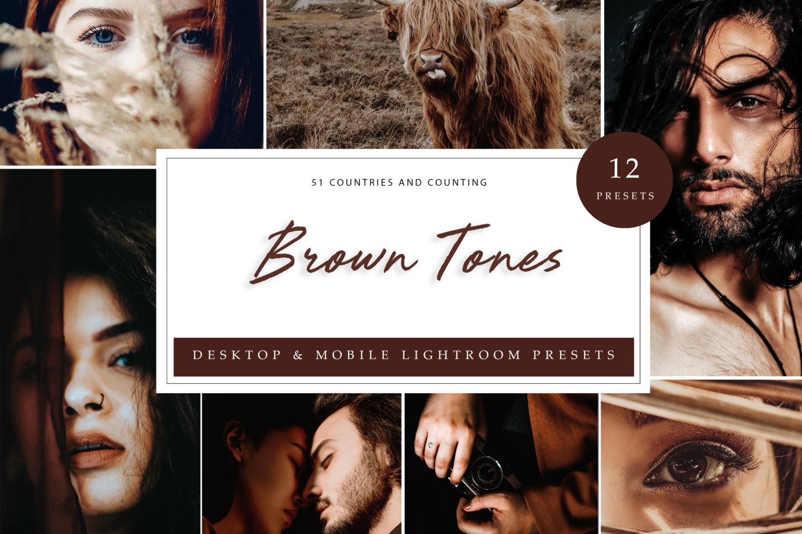 BUNDLE /// 06_Lightroom Collection // 72 x Desktop and Mobile Presets - Brown Tones LR scaled -
