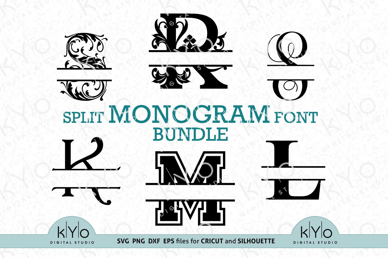 Split Monogram Letters Bundle Svg Png Dxf Eps Files Crella