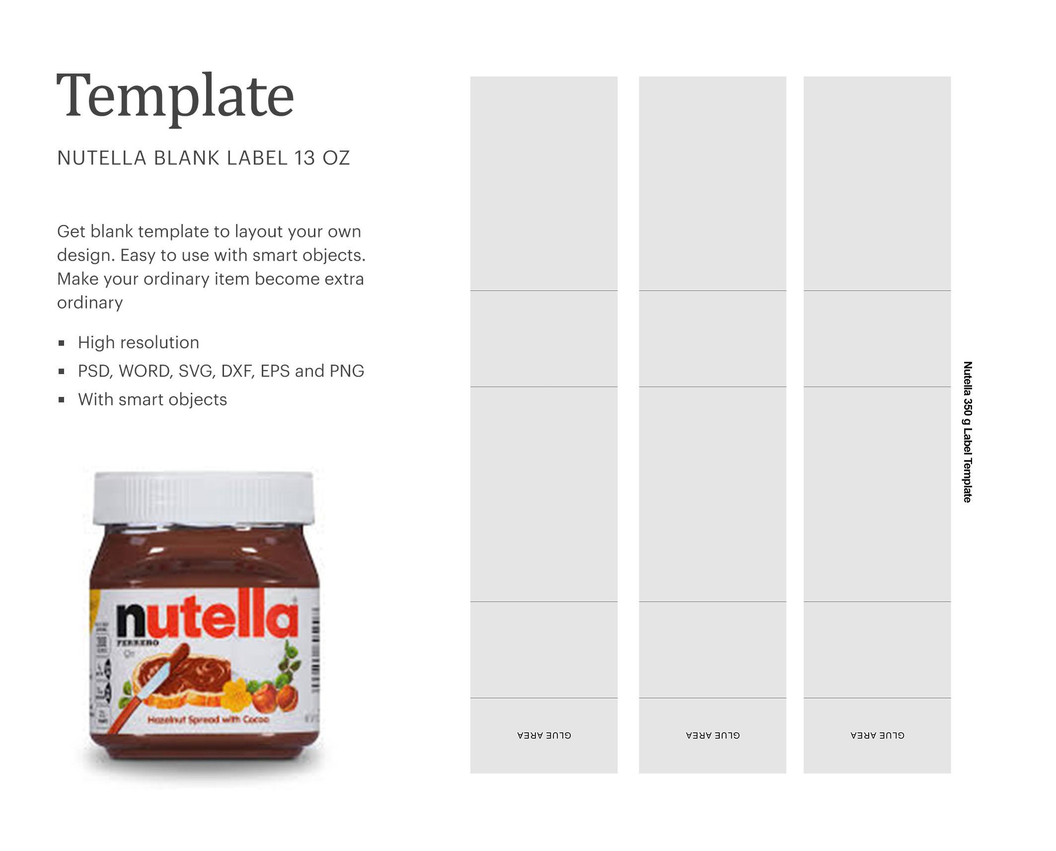 Nutella 13oz Bottle Label Paper Size 8 5 X 11 Crella
