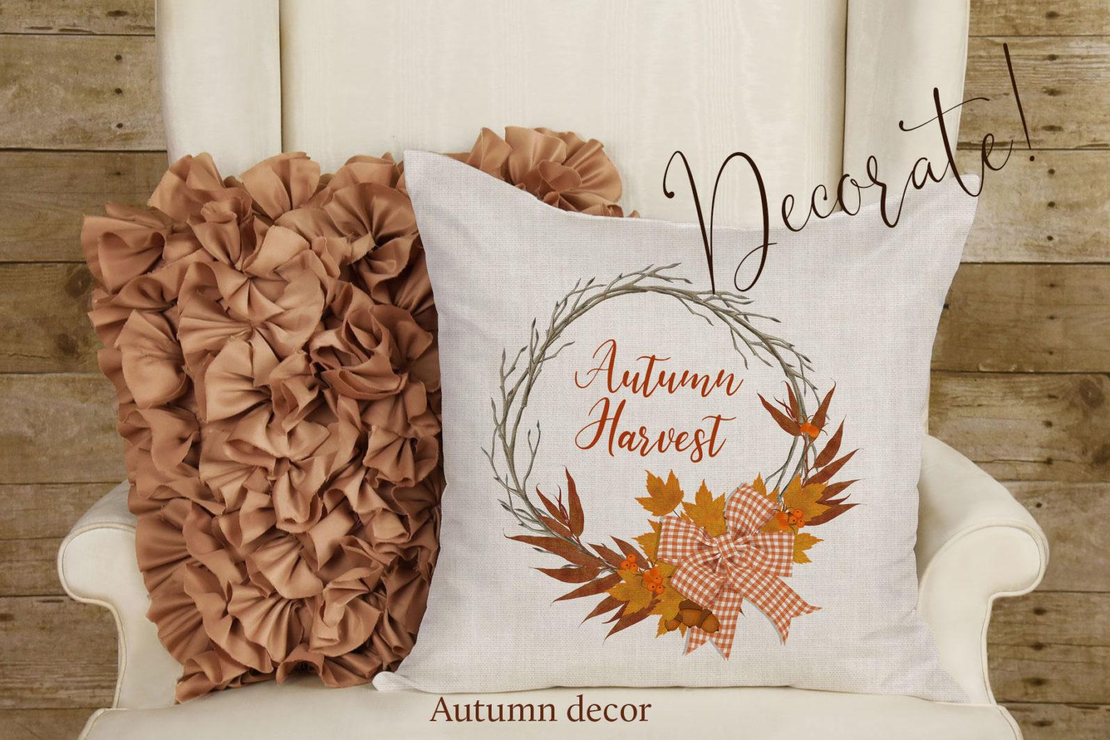 Autumn Wreaths - autumn wreath pillow -