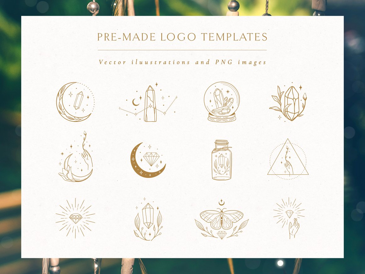 Logo Elements with Gemstones Vector. Crescent And Stars, Instagram, Highlight Story, Pattern, Studio - Logo Elements with Gemstones Vector 01 -