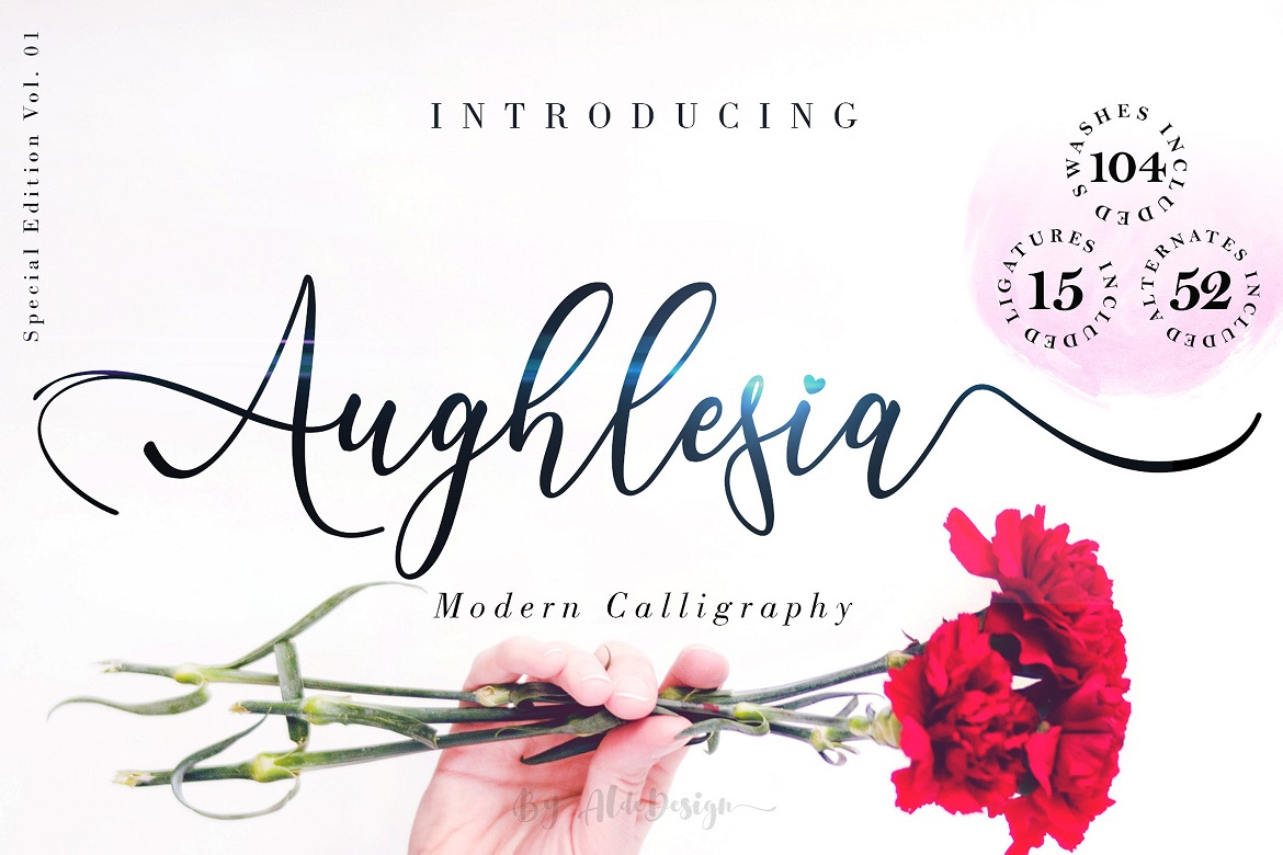 The 15 in 1 Wonderful Font Bundle - COVER Aughlesia Calligraphy 1 -