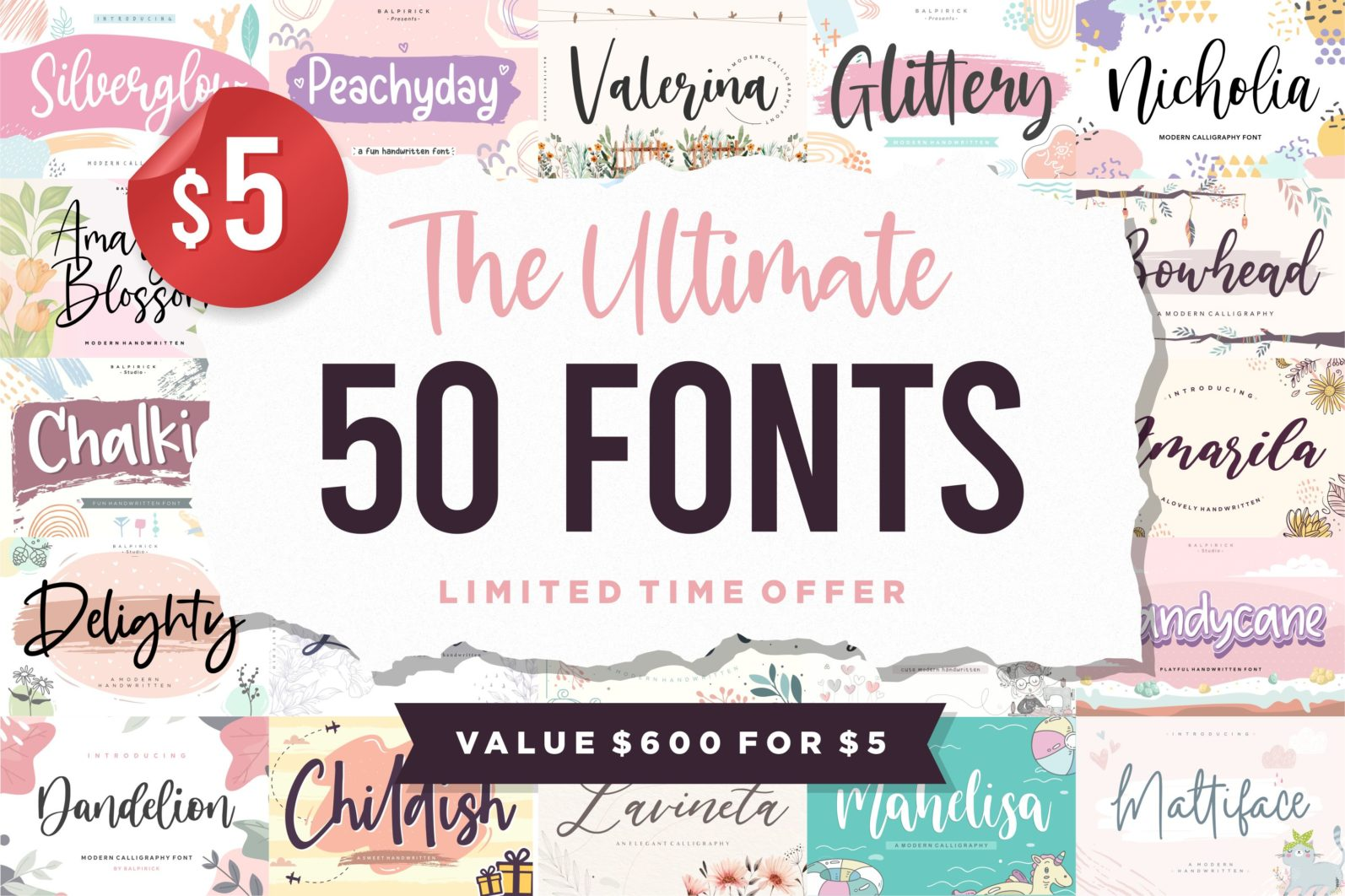 The Ultimate 50 Fonts   Limited Time Off - 50 5 scaled -