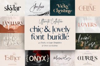 Free SVG Files - 01 chic creative modern font bundle by silver stag -