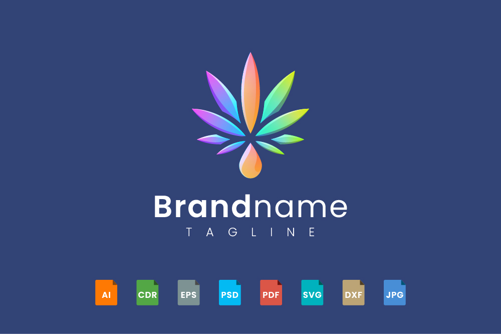 Cannabis and water drop logo template - CF 2020 10 04 35 -