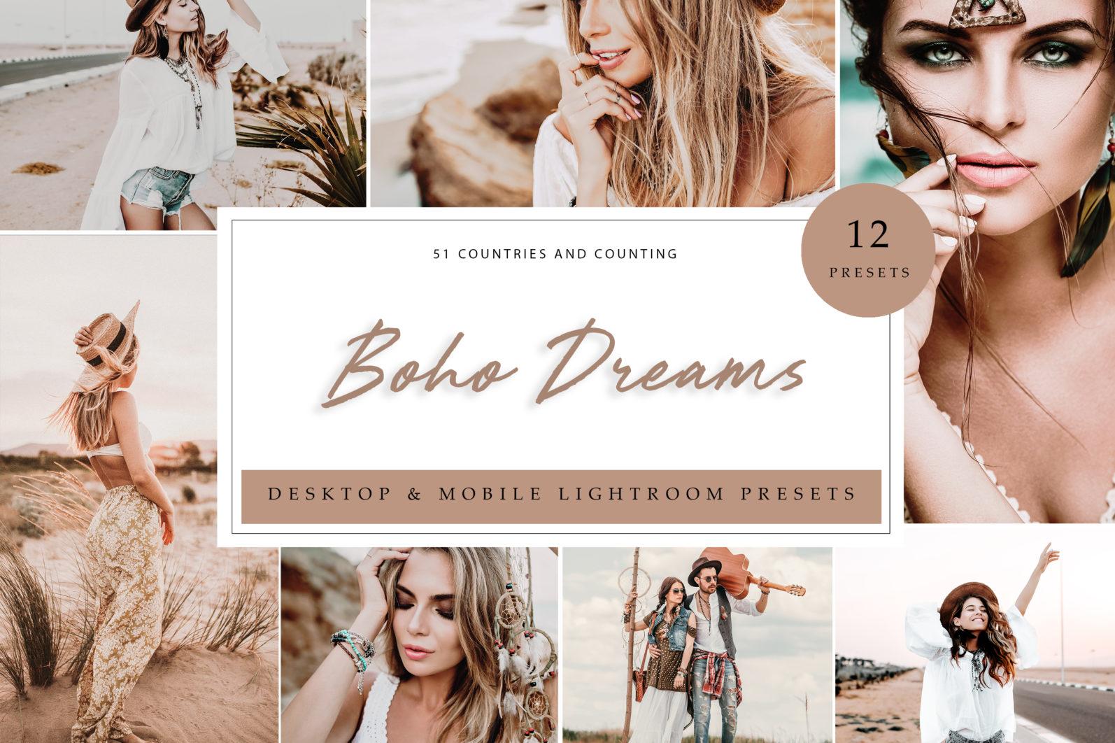 12 x Boho Dreams Lightroom Presets, Portrait Presets | Mobile and Desktop - Boho Dreams LR scaled -