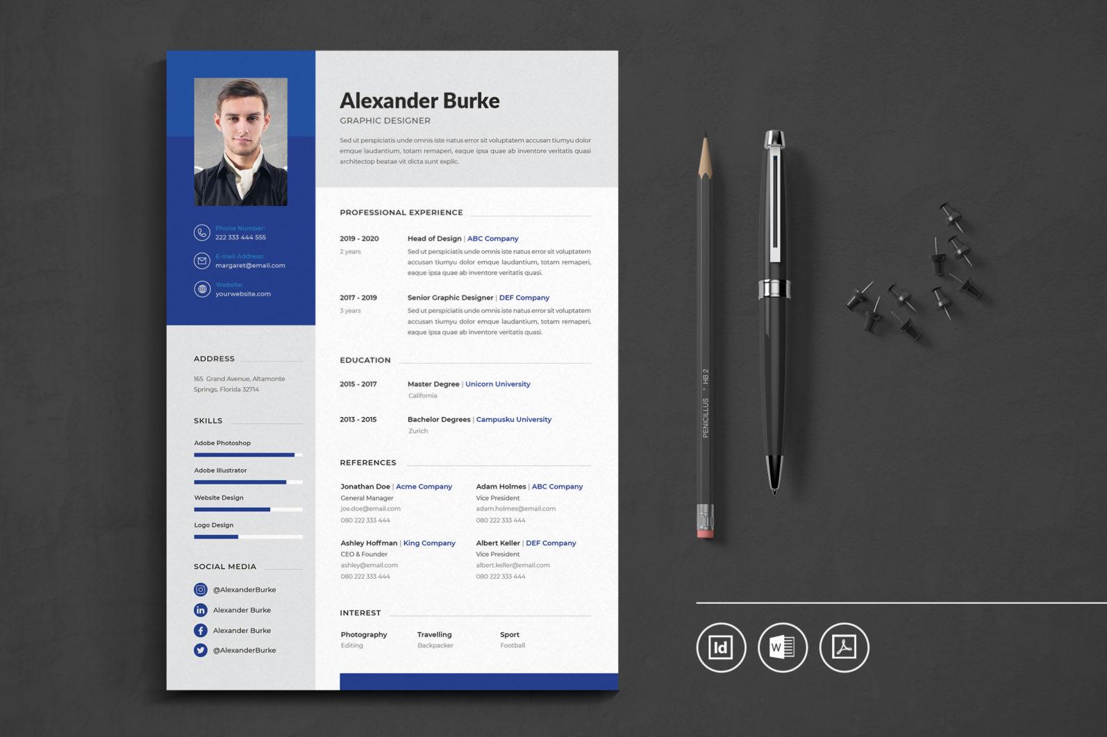 Big Bundle Professional CV Resume Indesign Template - Preview 02 -
