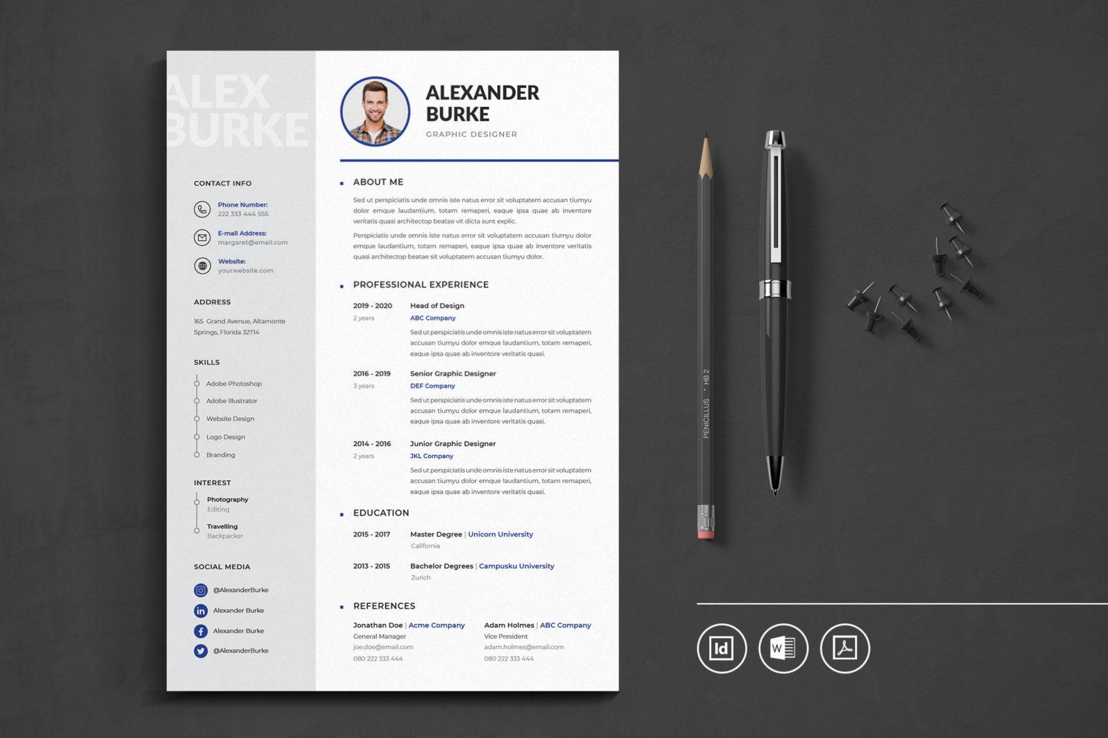 Big Bundle Professional CV Resume Indesign Template - Preview 04 -