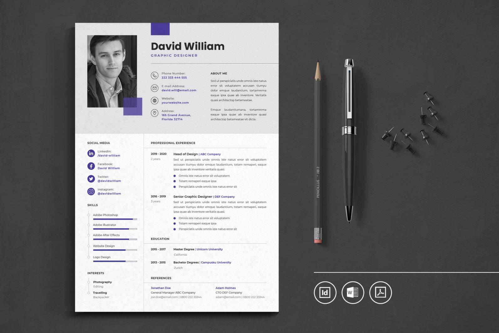 Big Bundle Professional CV Resume Indesign Template - Preview 05 -
