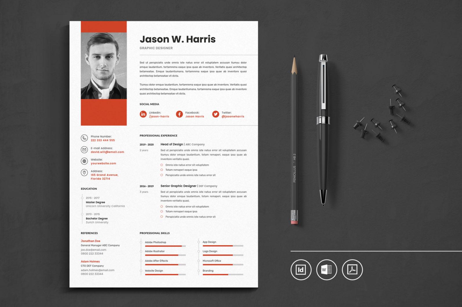 Big Bundle Professional CV Resume Indesign Template - Preview 06 -