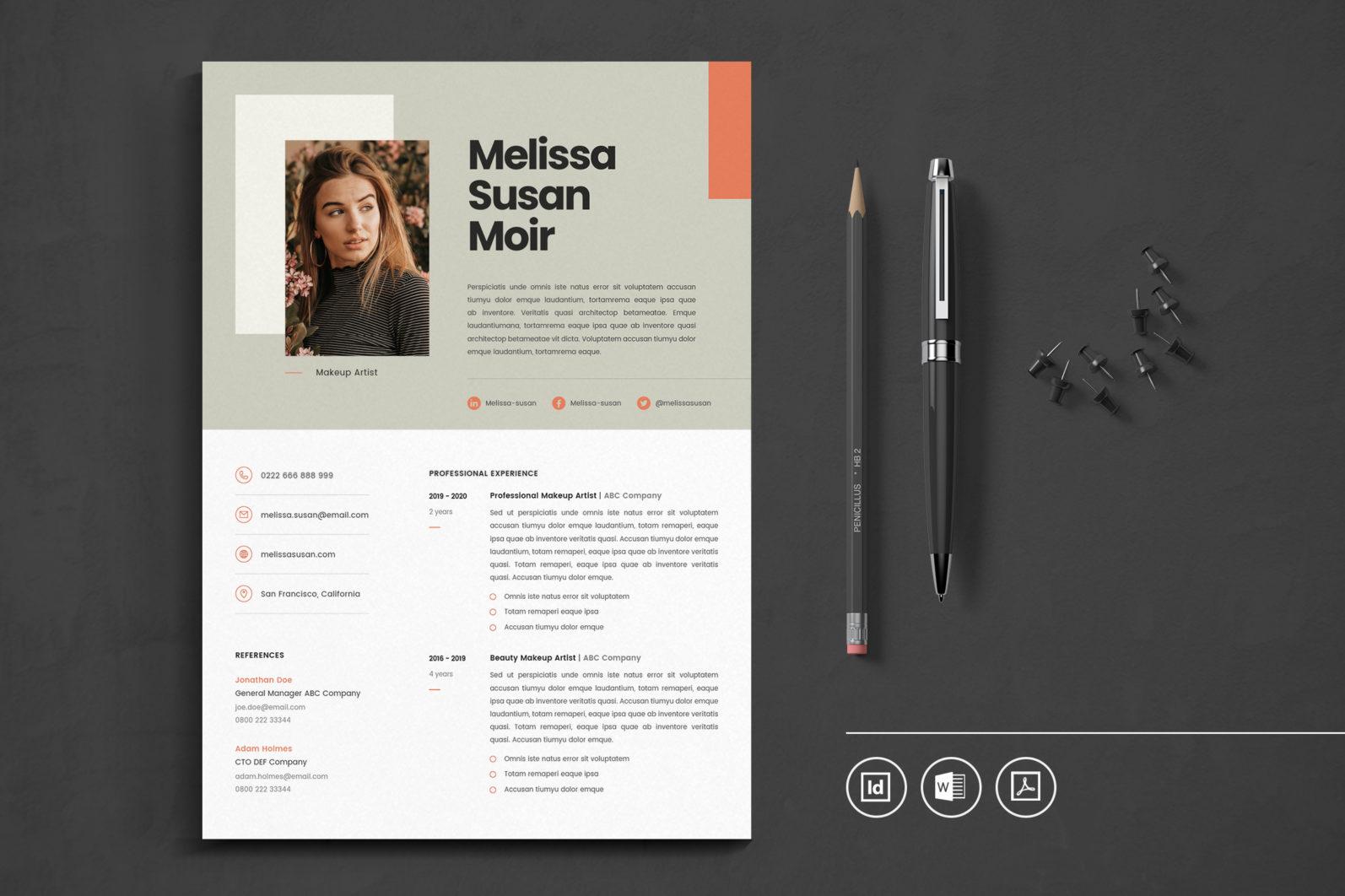 Big Bundle Professional CV Resume Indesign Template - Preview 07 -