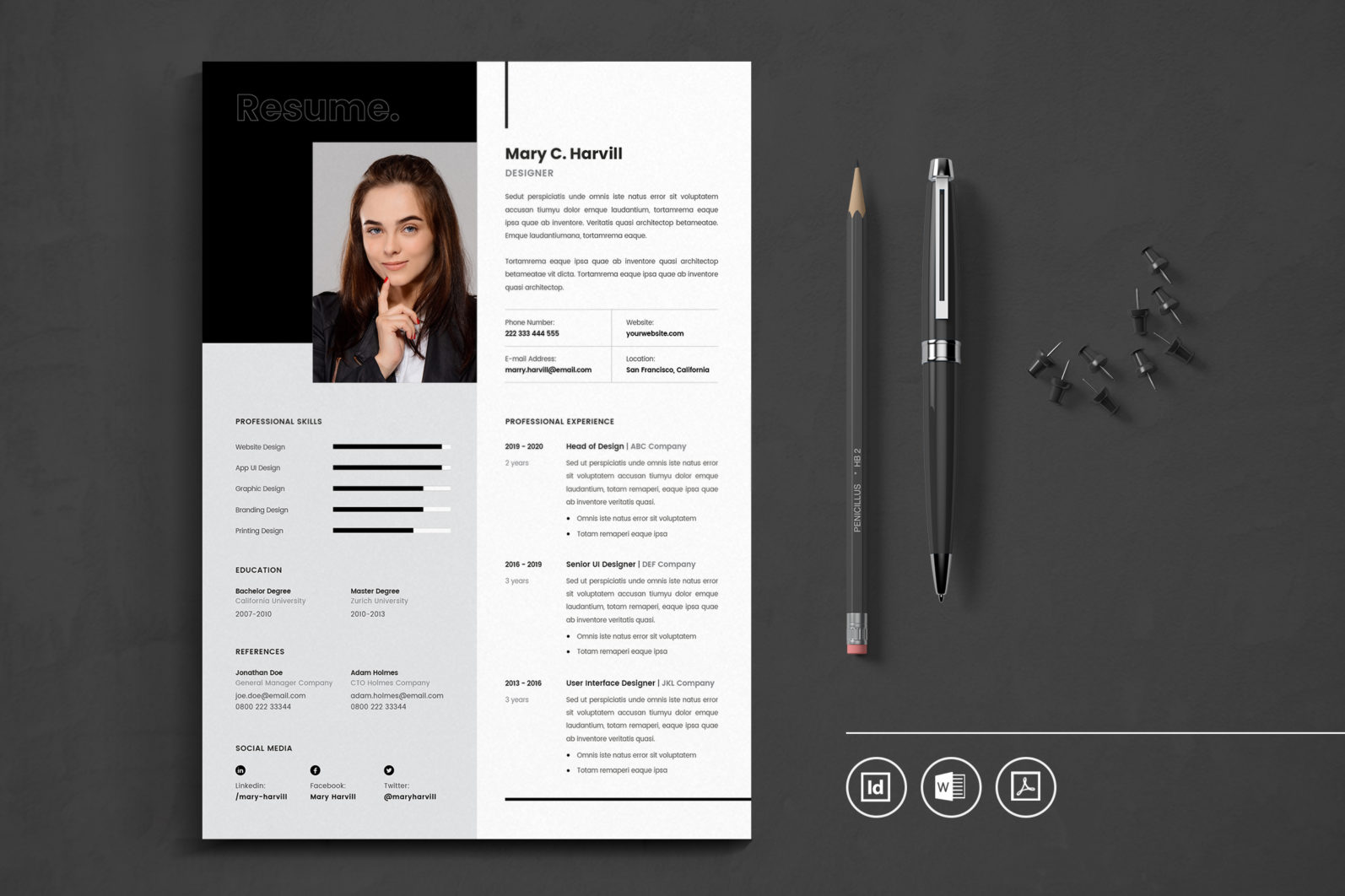 Big Bundle Professional CV Resume Indesign Template - Preview 08 -