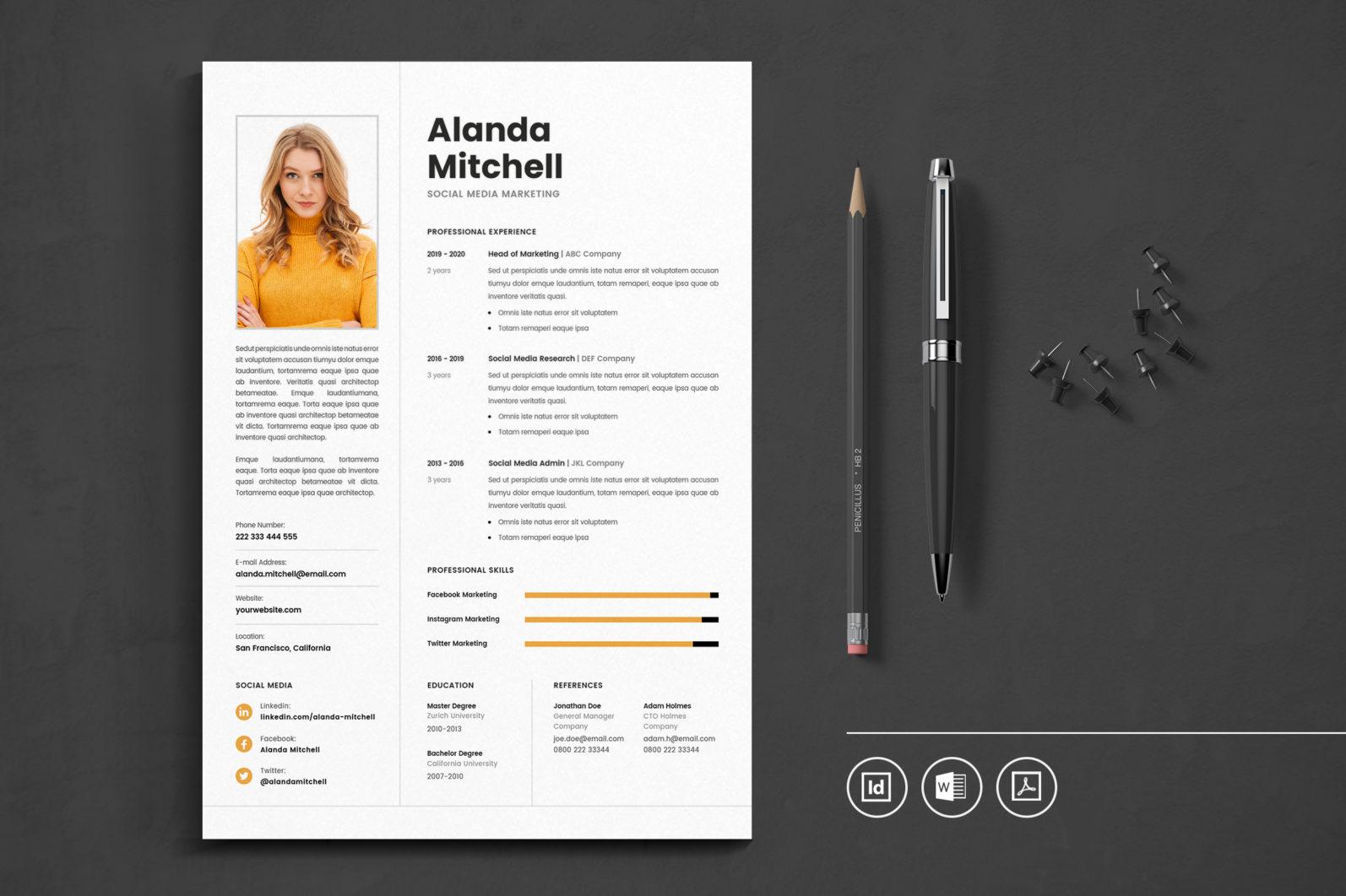 Big Bundle Professional CV Resume Indesign Template - Preview 09 -