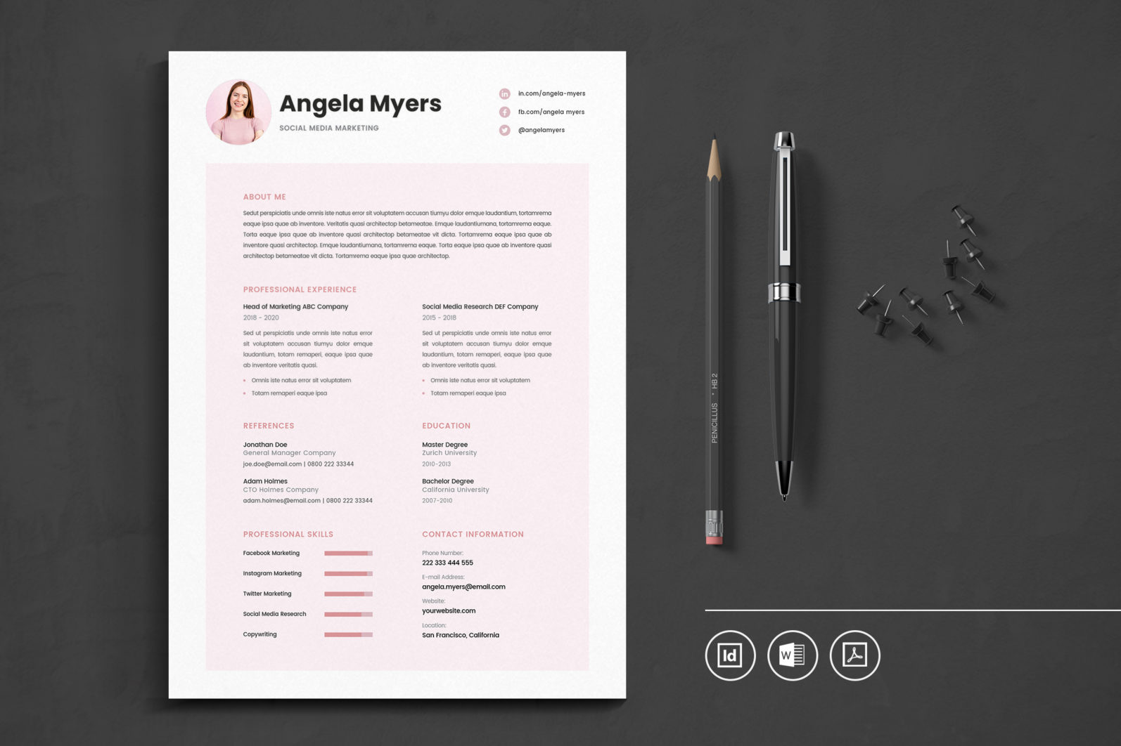 Big Bundle Professional CV Resume Indesign Template - Preview 10 1 -