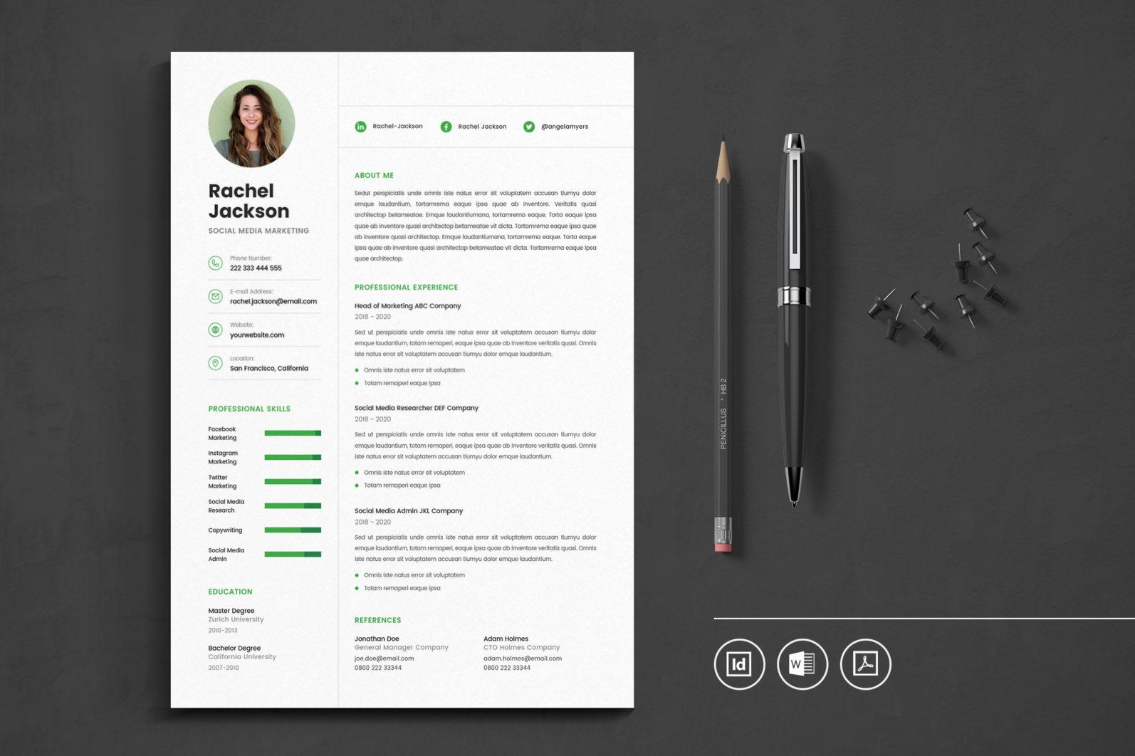 Big Bundle Professional CV Resume Indesign Template - Preview 11 1 -