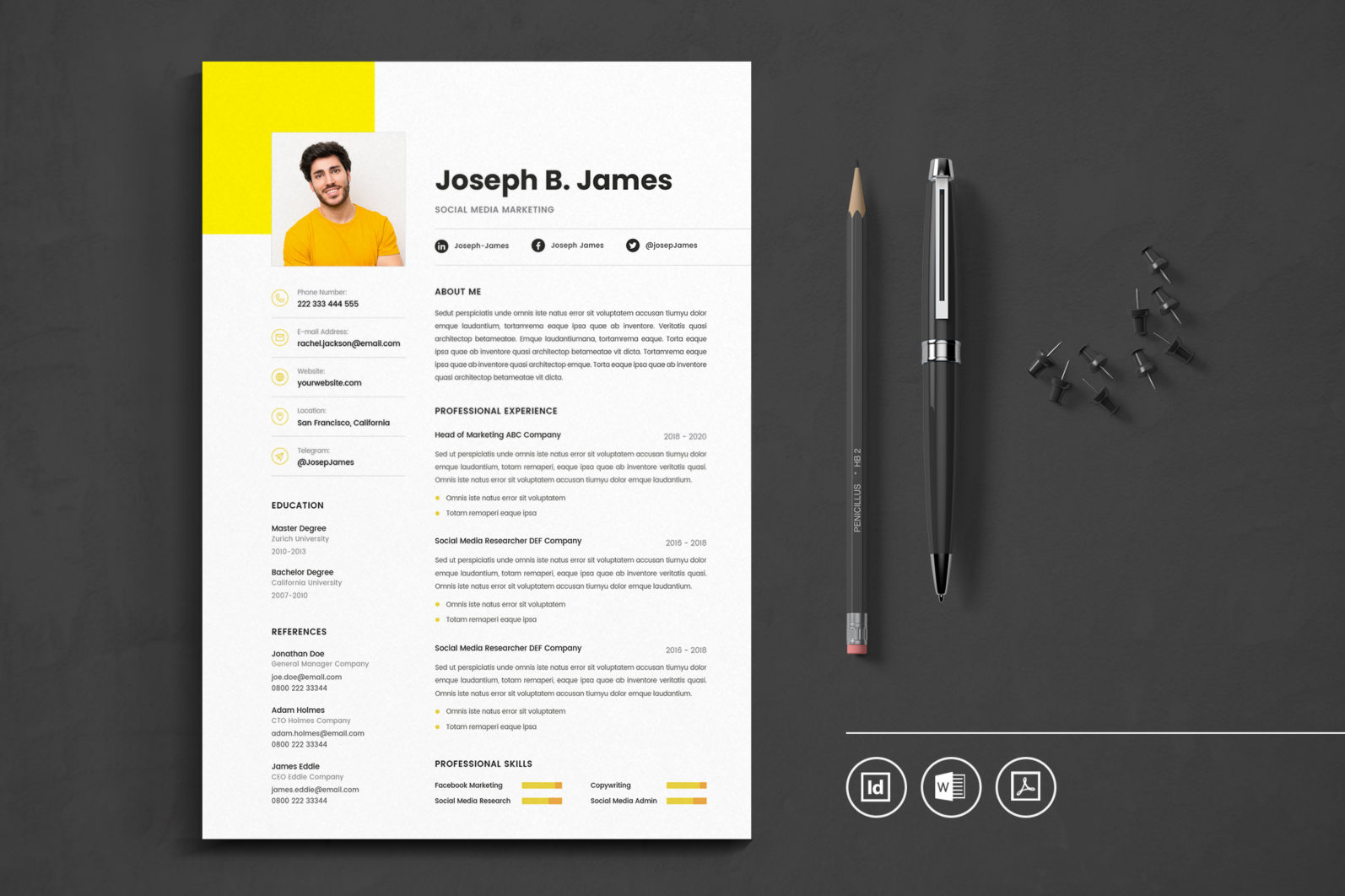 Big Bundle Professional CV Resume Indesign Template - Preview 12 1 -