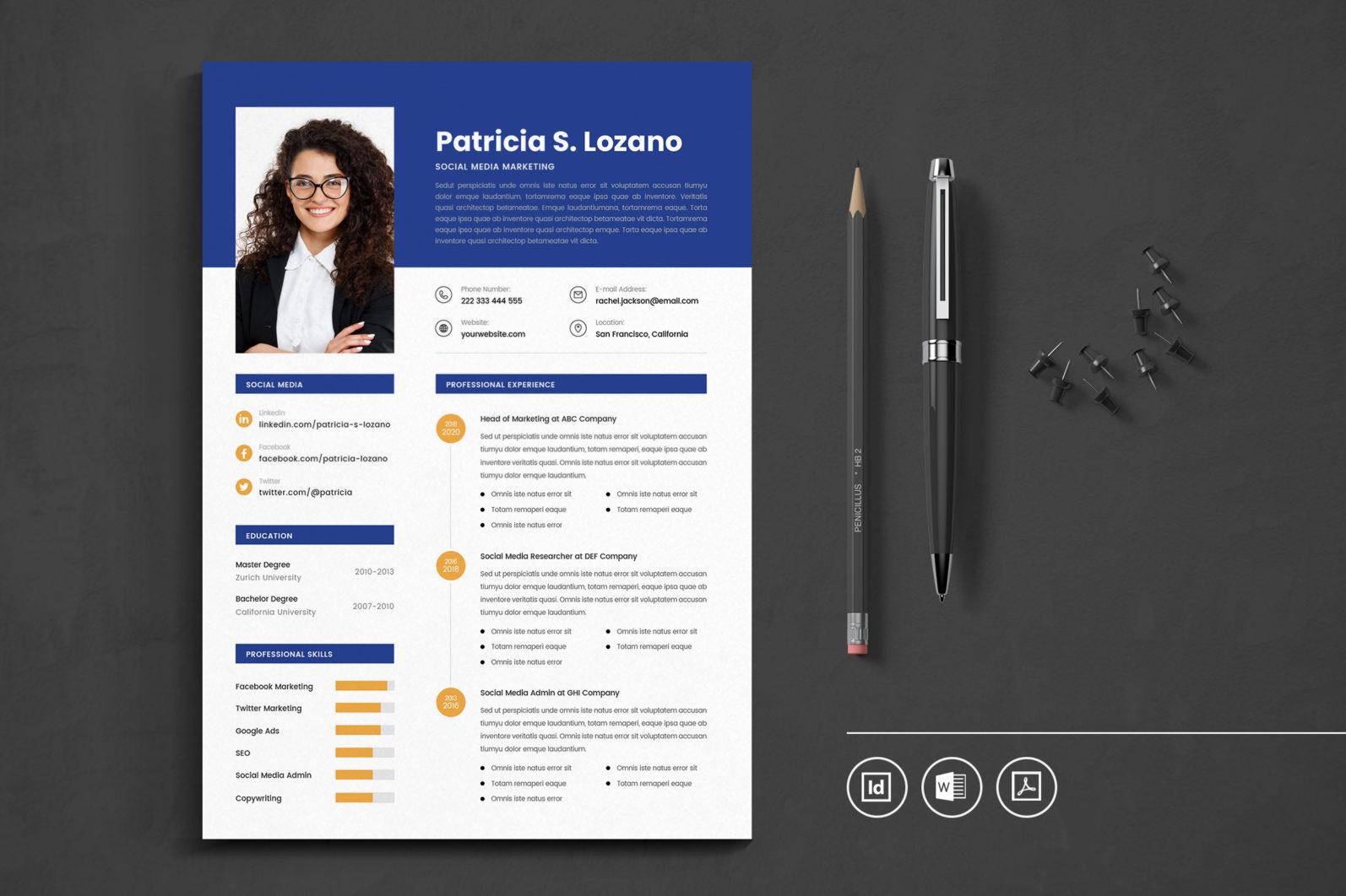 Big Bundle Professional CV Resume Indesign Template - Preview 13 1 -