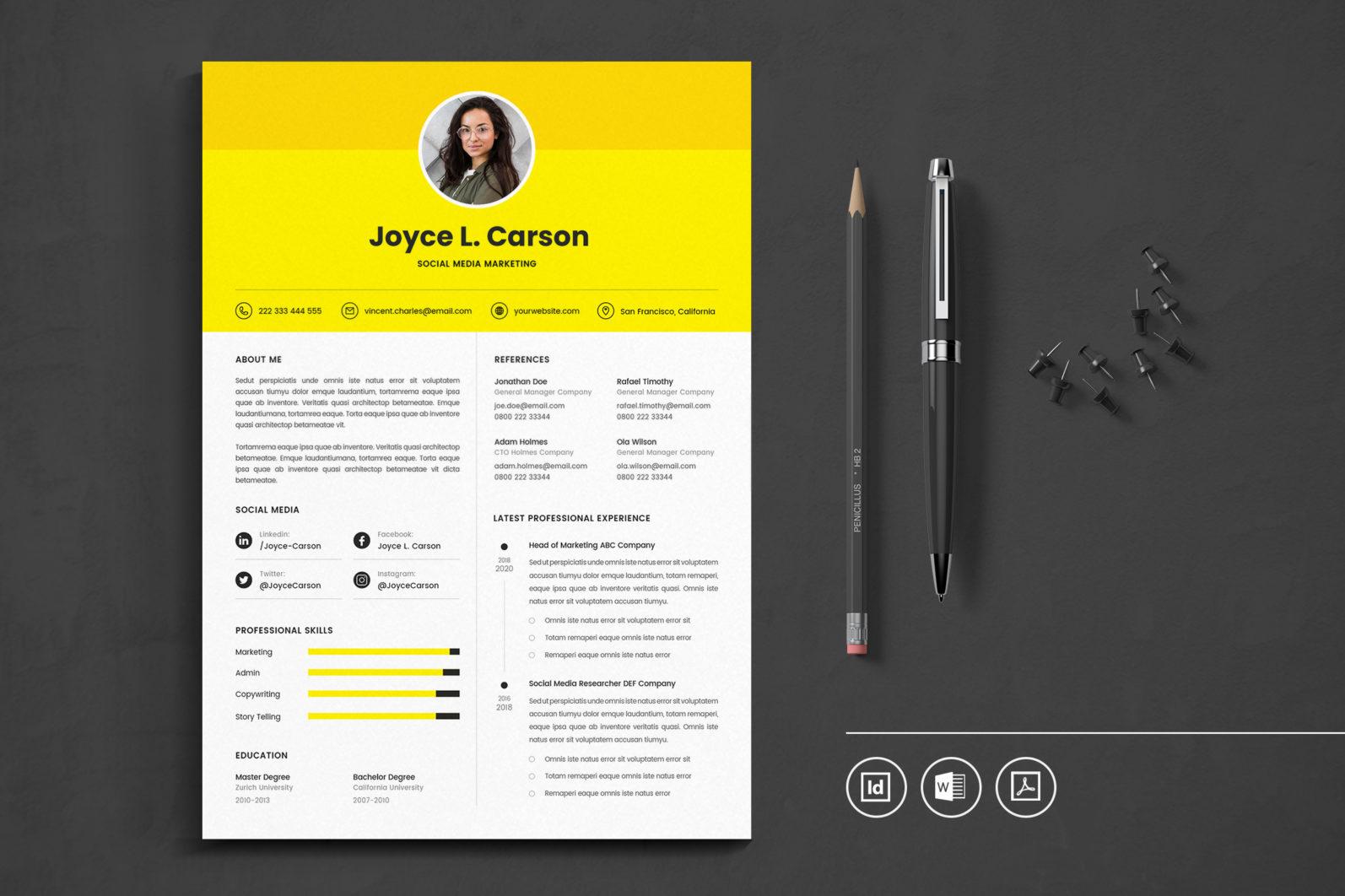 Big Bundle Professional CV Resume Indesign Template - Preview 15 1 -