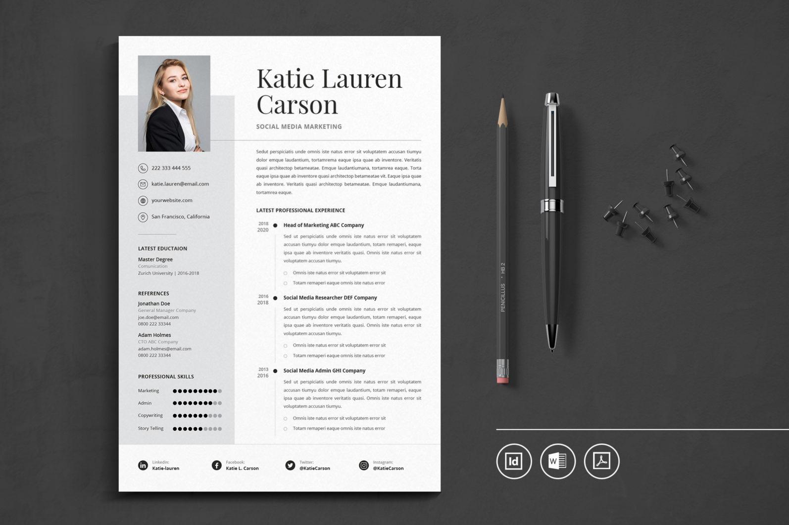Big Bundle Professional CV Resume Indesign Template - Preview 16 1 -