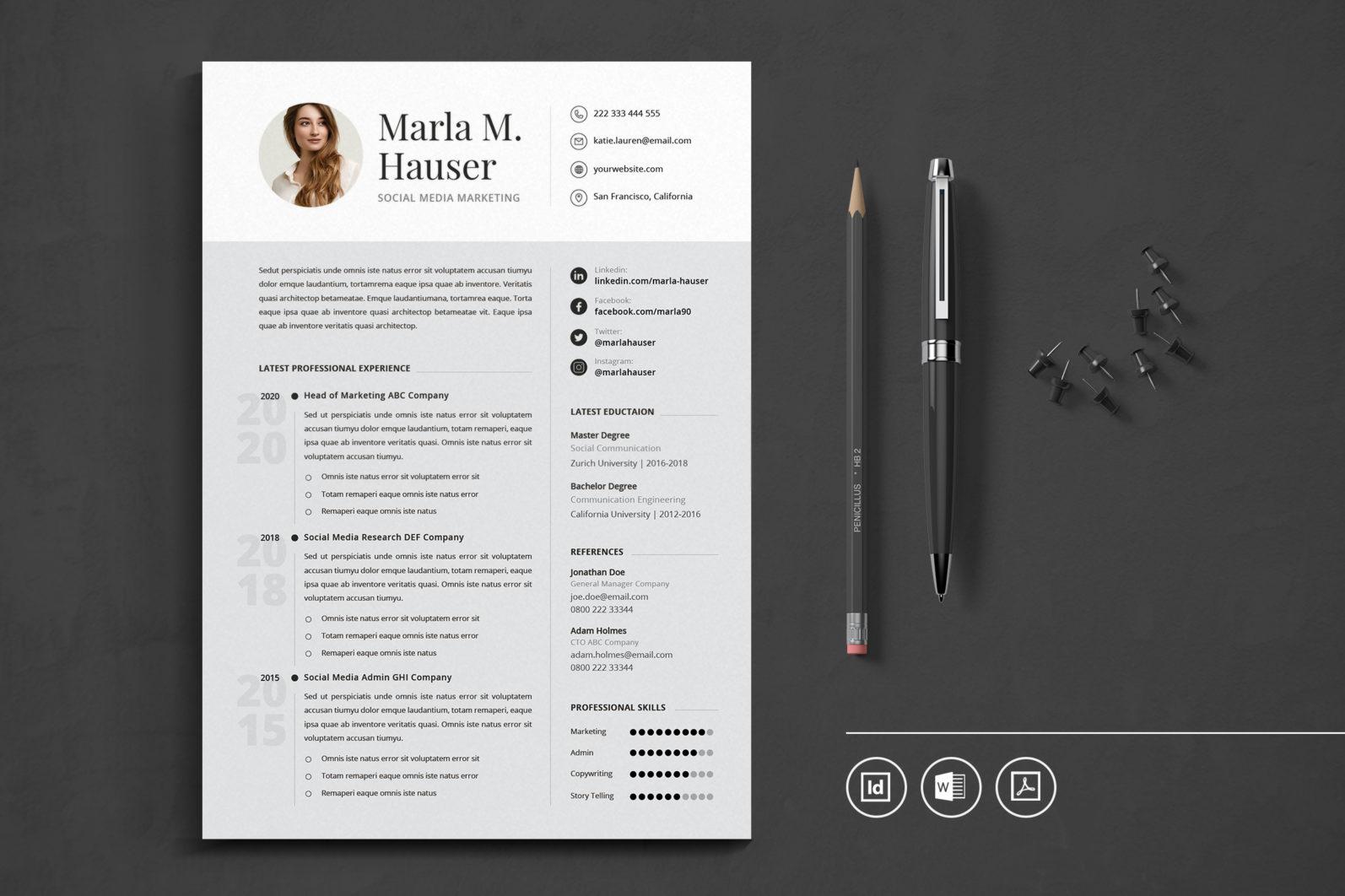 Big Bundle Professional CV Resume Indesign Template - Preview 17 1 -