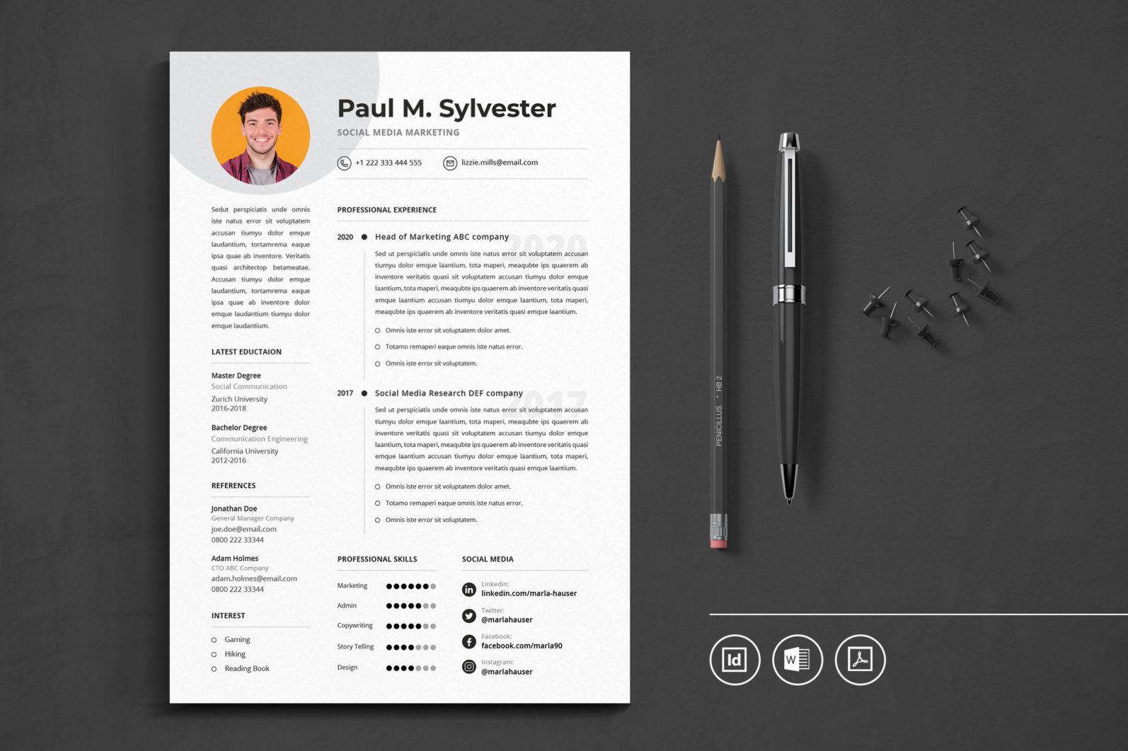 Big Bundle Professional CV Resume Indesign Template - Preview 19 1 -