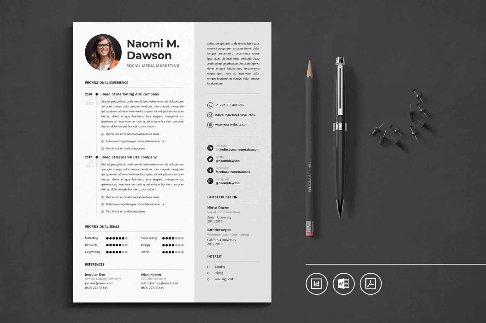 Big Bundle Professional CV Resume Indesign Template - Preview 20 1 -