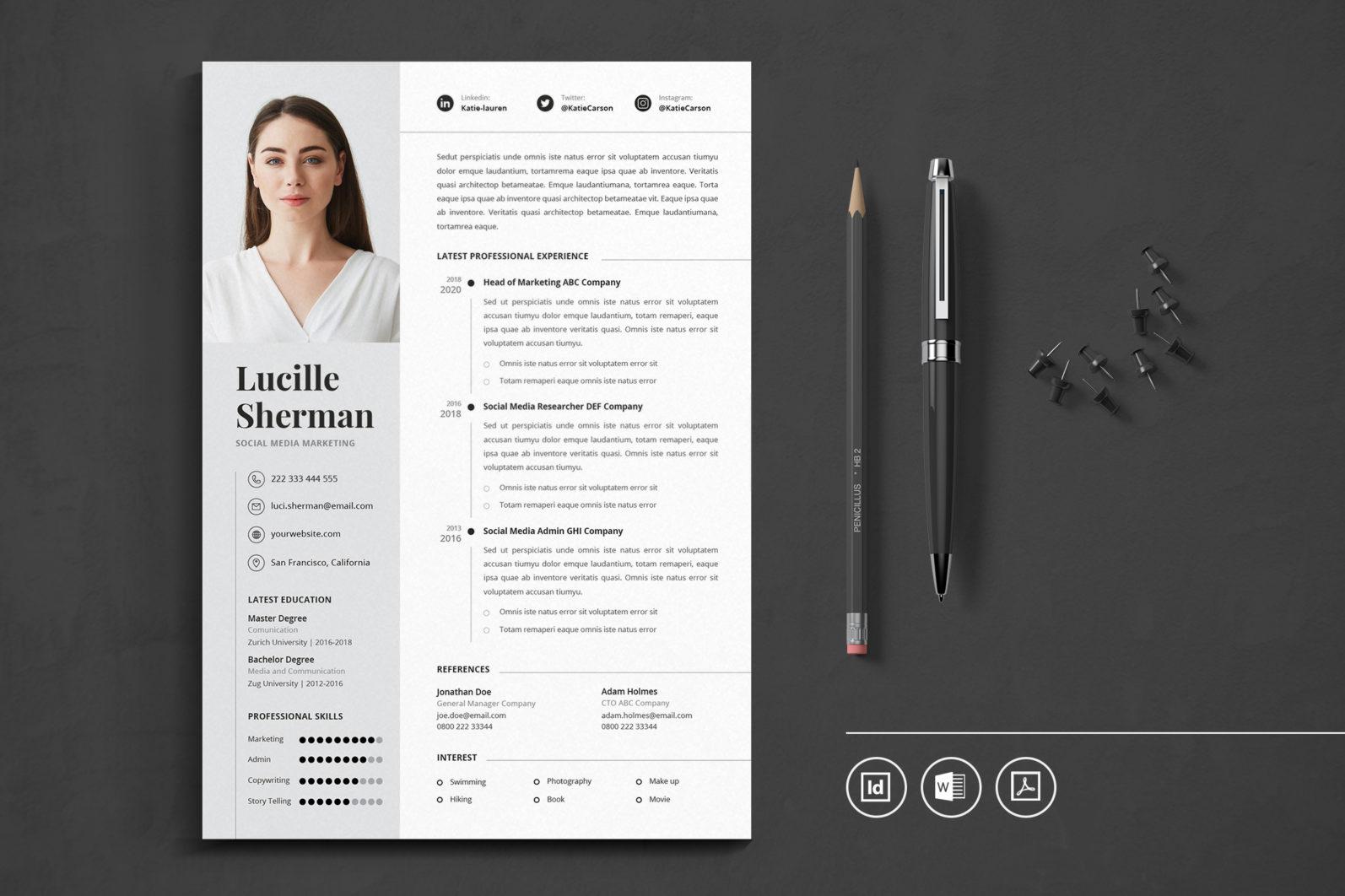 Big Bundle Professional CV Resume Indesign Template - Preview 21 1 -