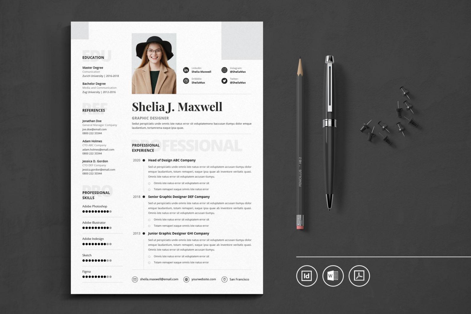 Big Bundle Professional CV Resume Indesign Template - Preview 23 1 -
