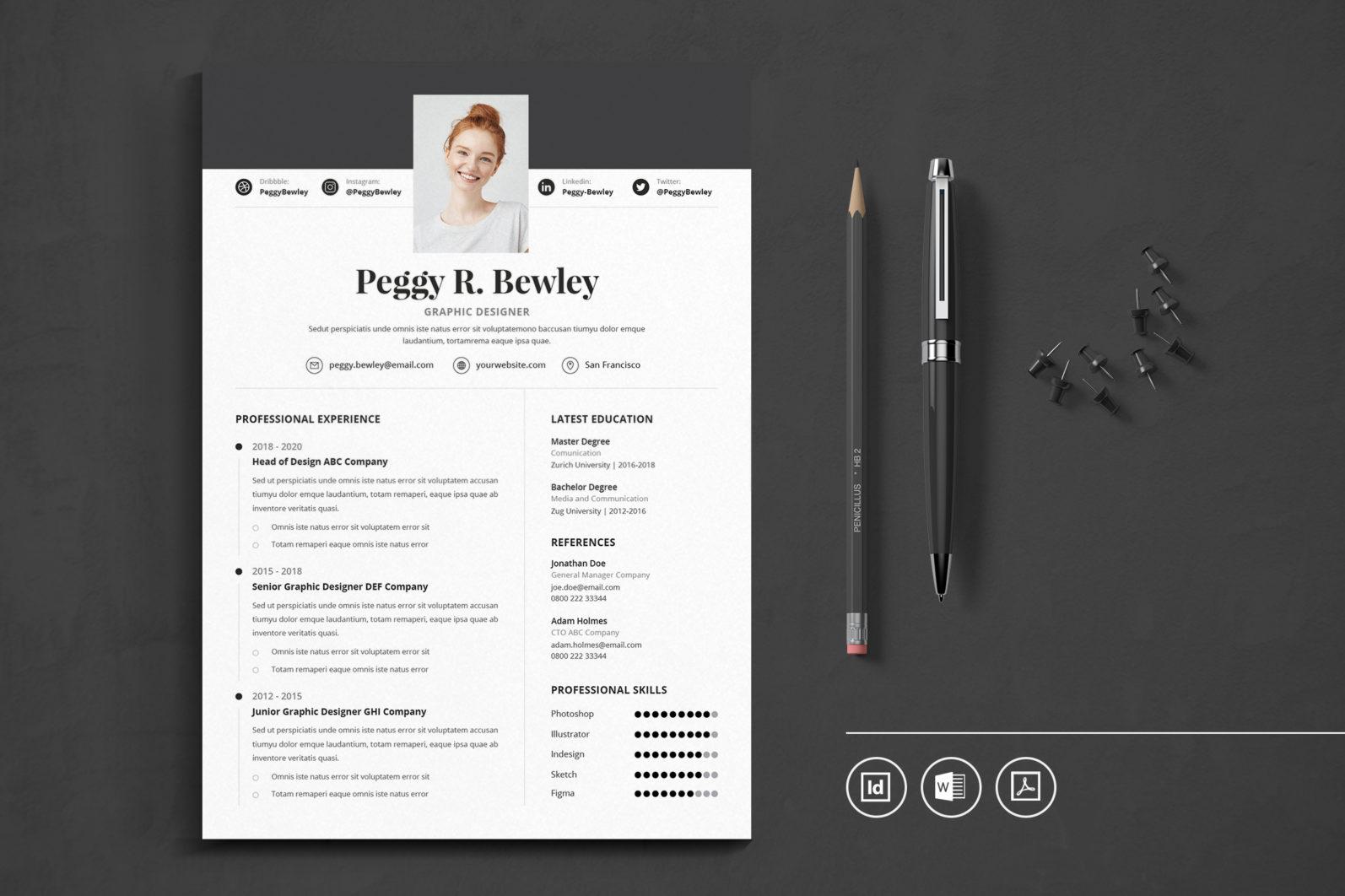 Big Bundle Professional CV Resume Indesign Template - Preview 24 1 -